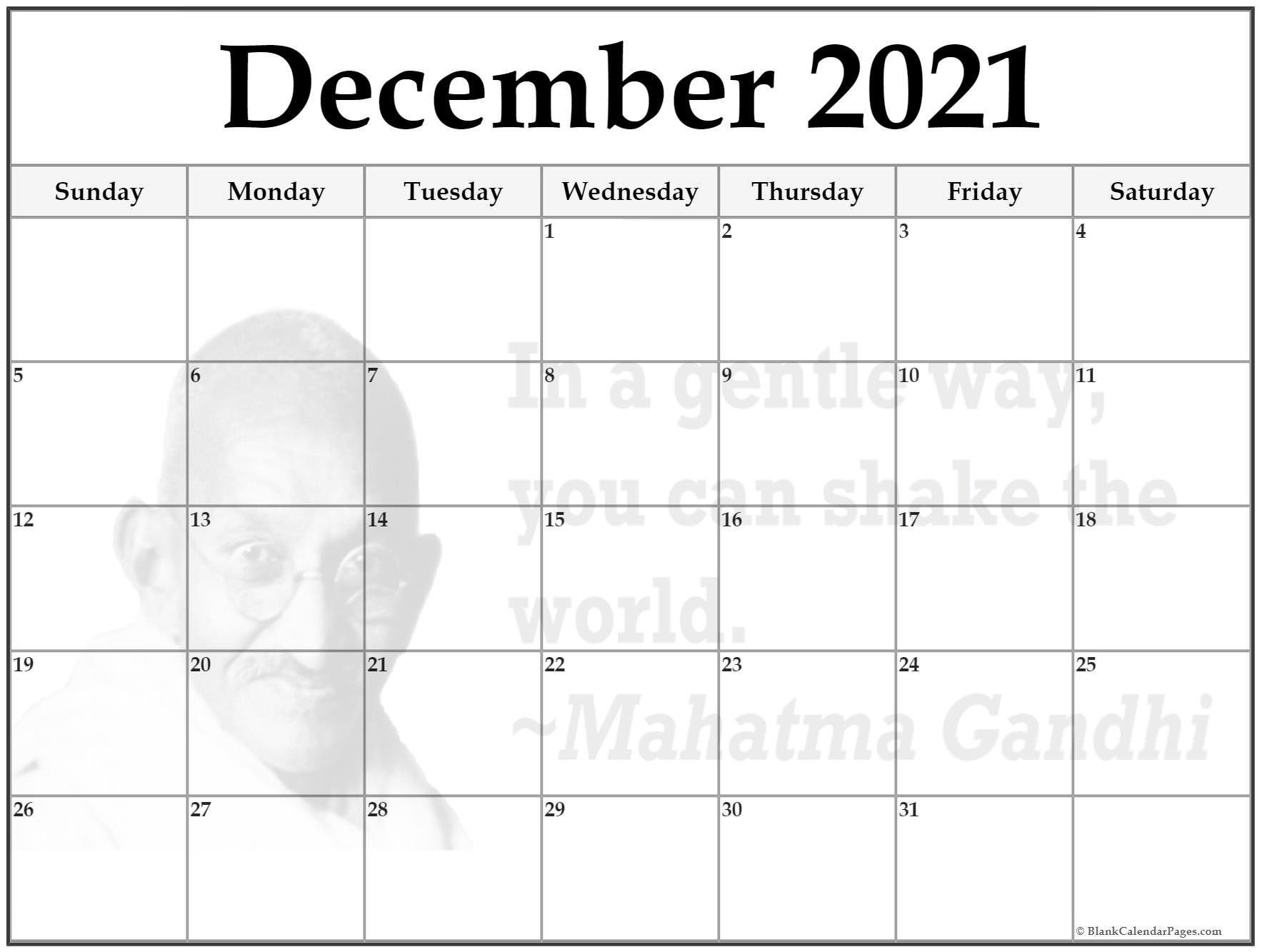 December 2021 quote calendar . In a gentle way, you can shake the world. ~Mahatma Gandhi