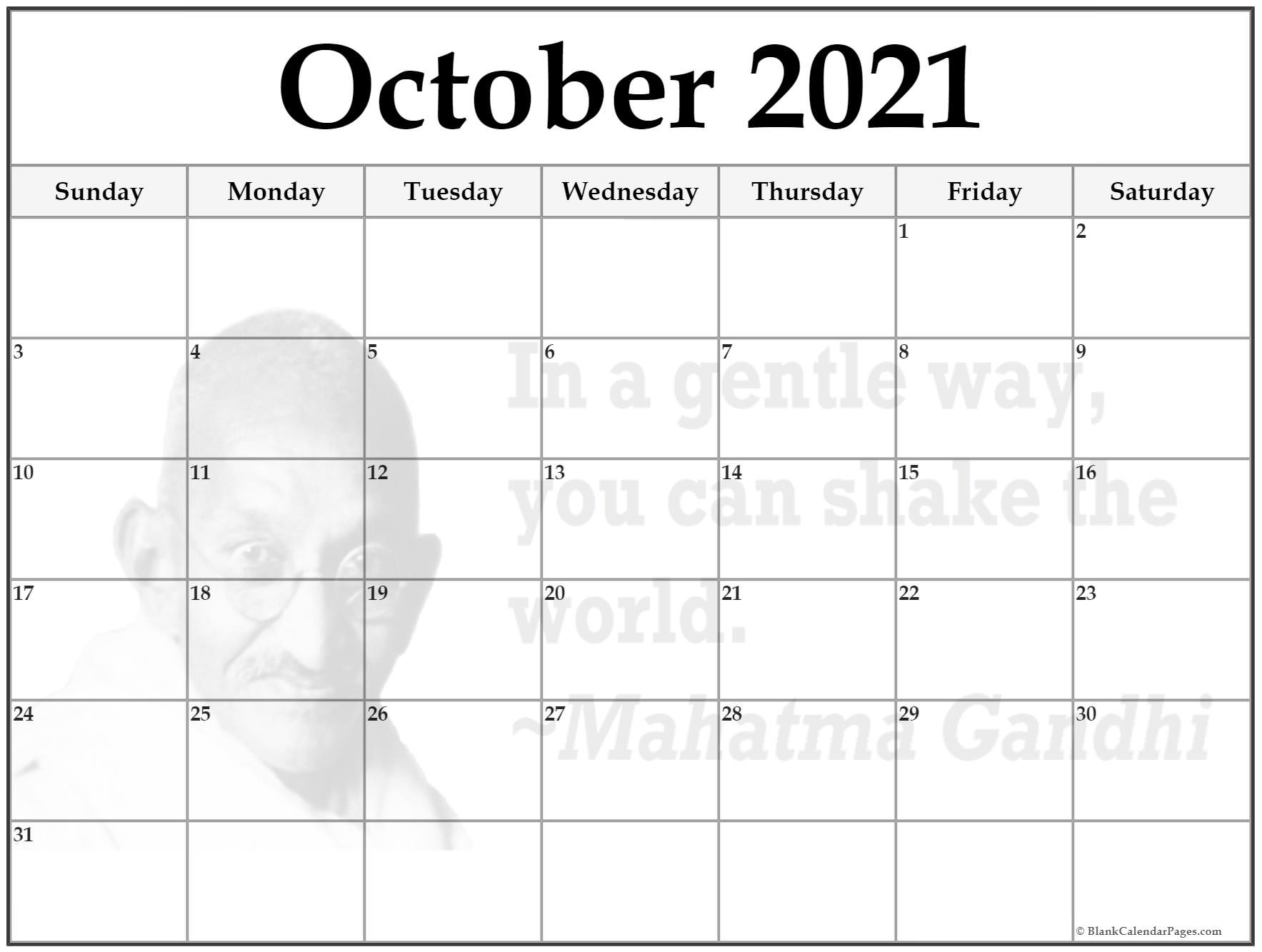 October 2021 quote calendar . In a gentle way, you can shake the world. ~Mahatma Gandhi
