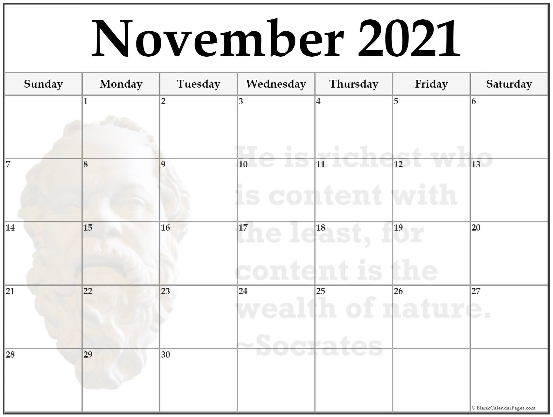 November 2018 monthly quote calendar template. He is richest who is content with the least, for content is the wealth of nature. ~Socrates