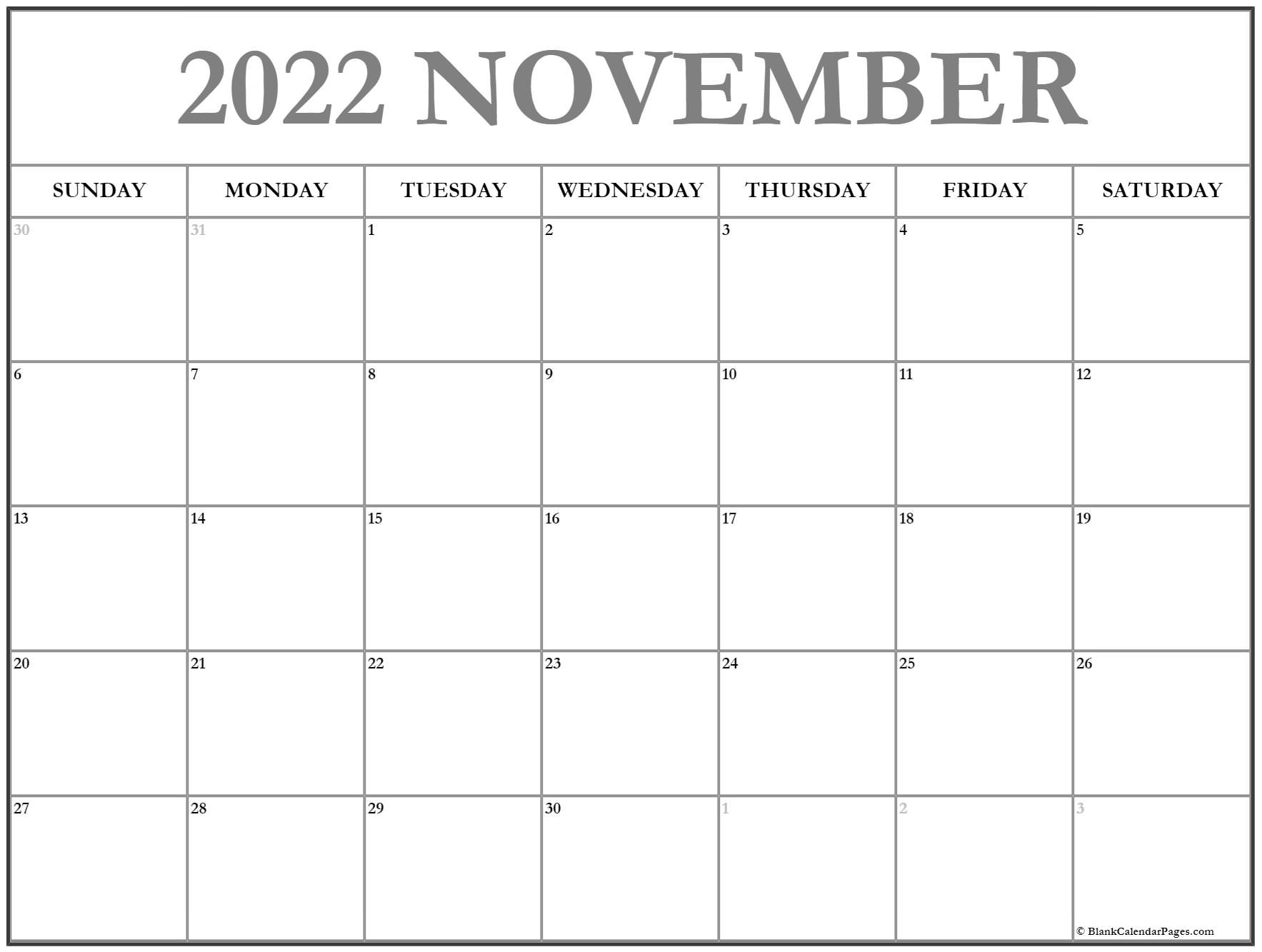 calendar 2020 November November calendar 2020