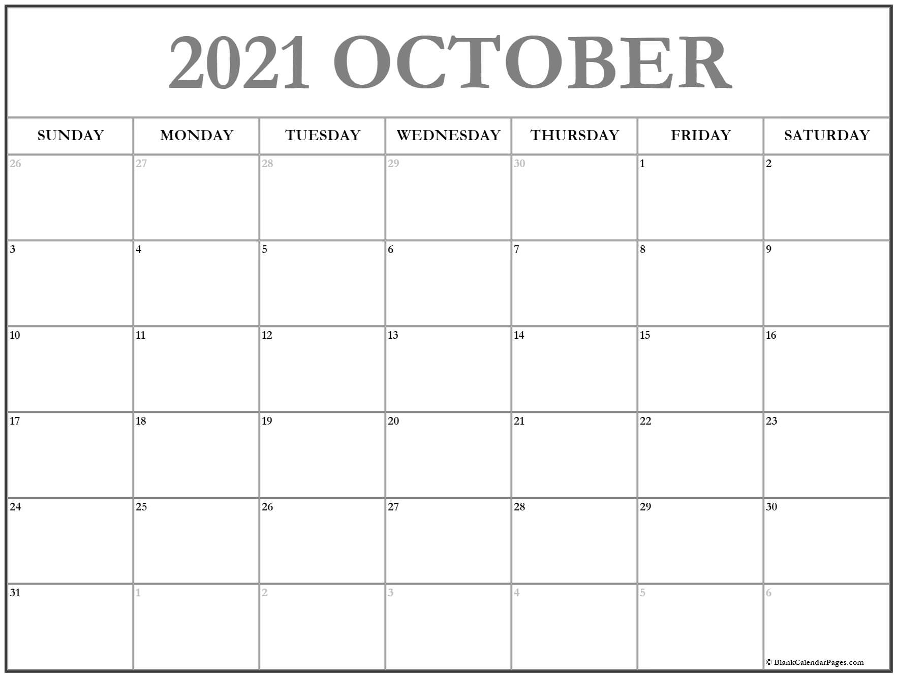 Calendar 2020 October October Calendar 2020 Printable And Free Blank  Calendar