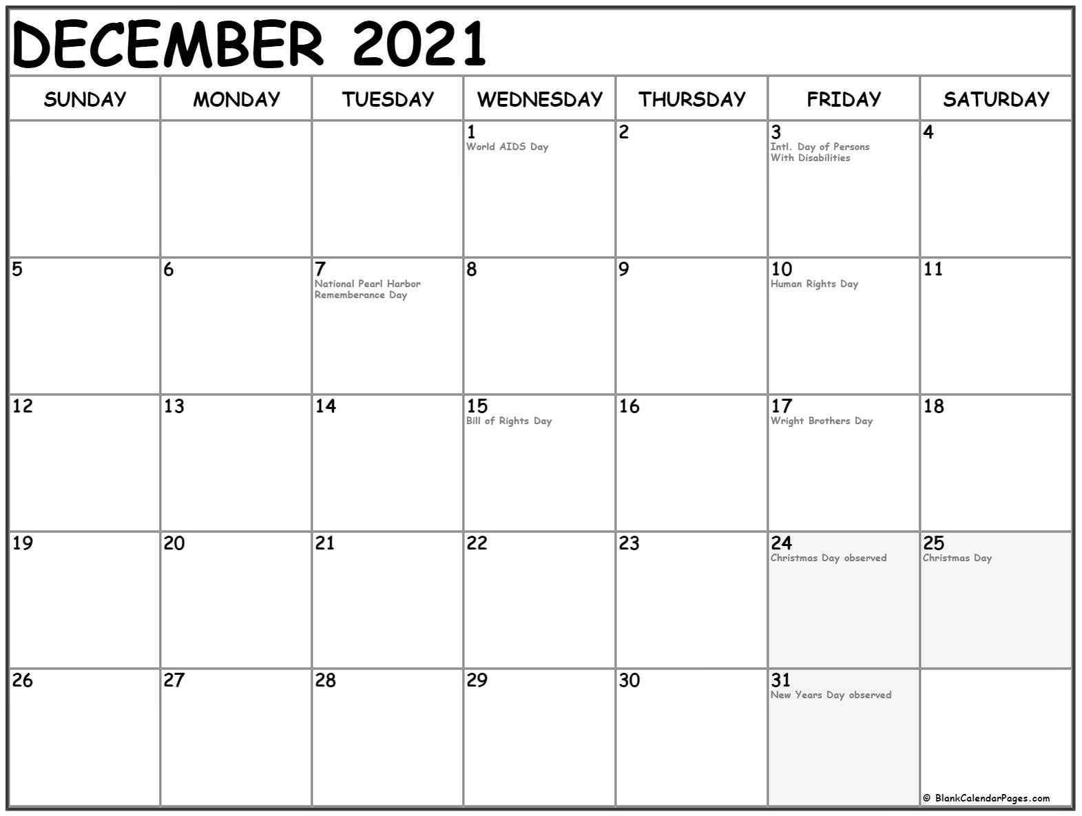 calendar 2020 December US holidays