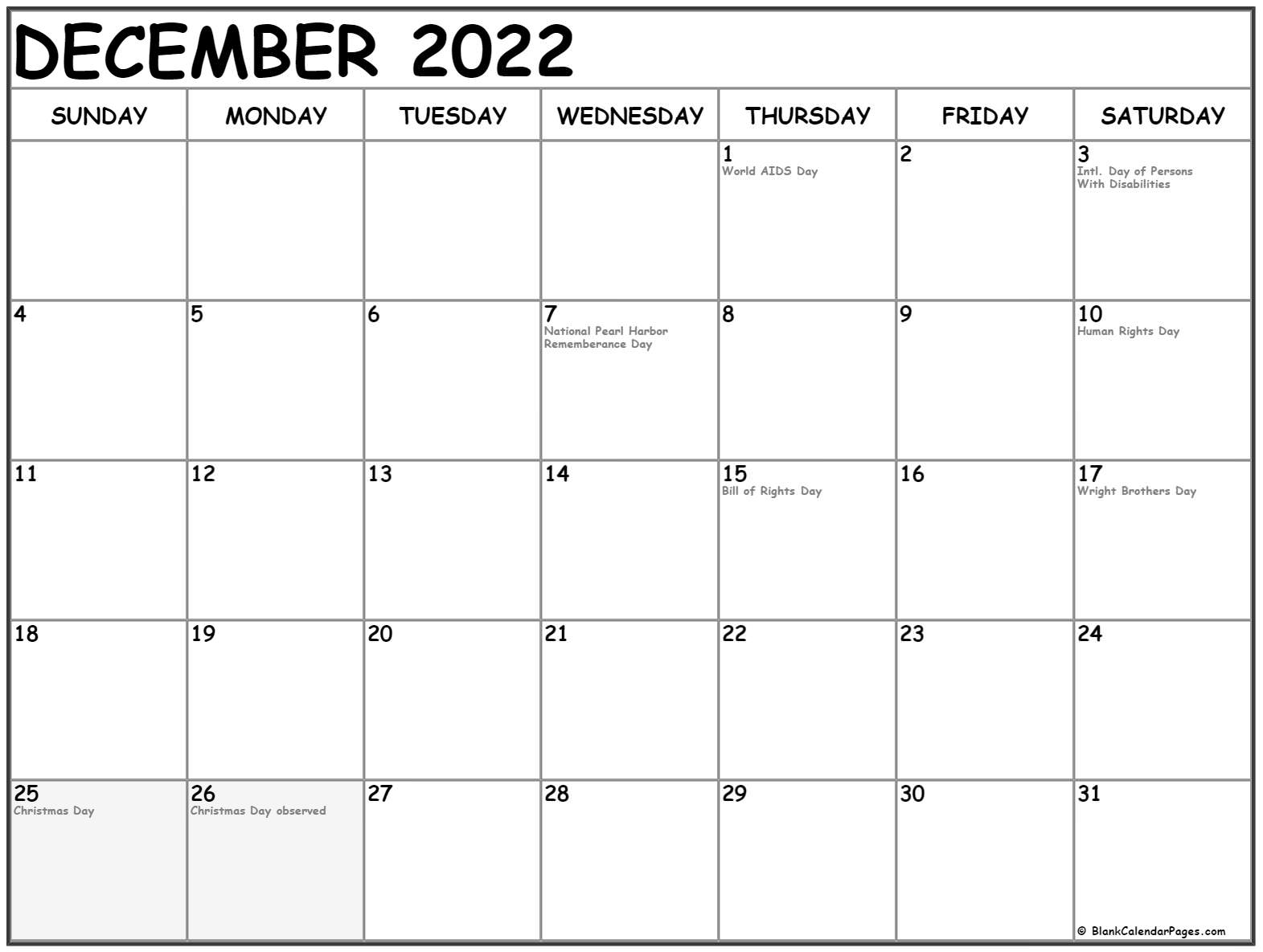 December 2018 calendar with USA holidays