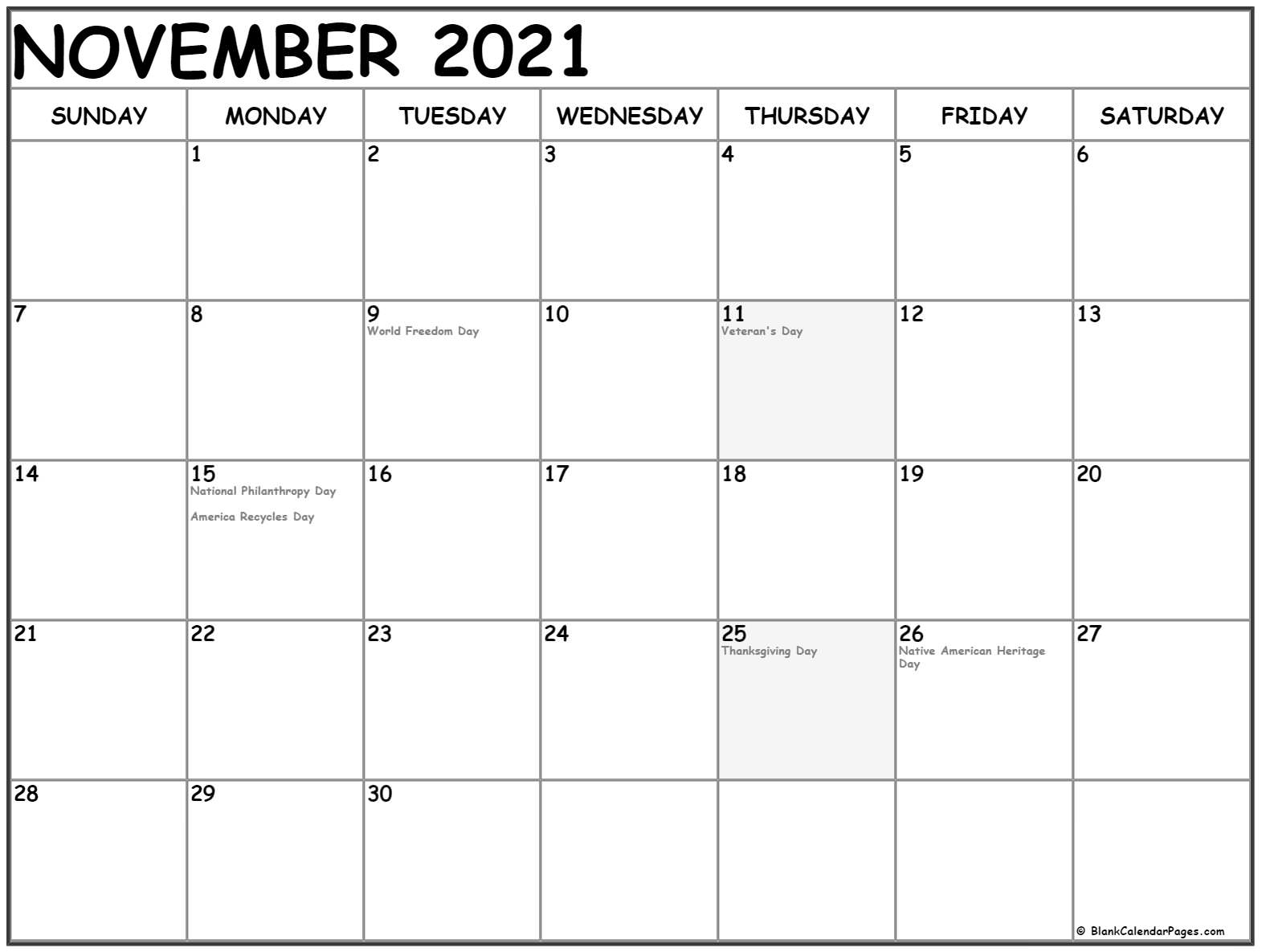 November 2021 calendar with USA holidays