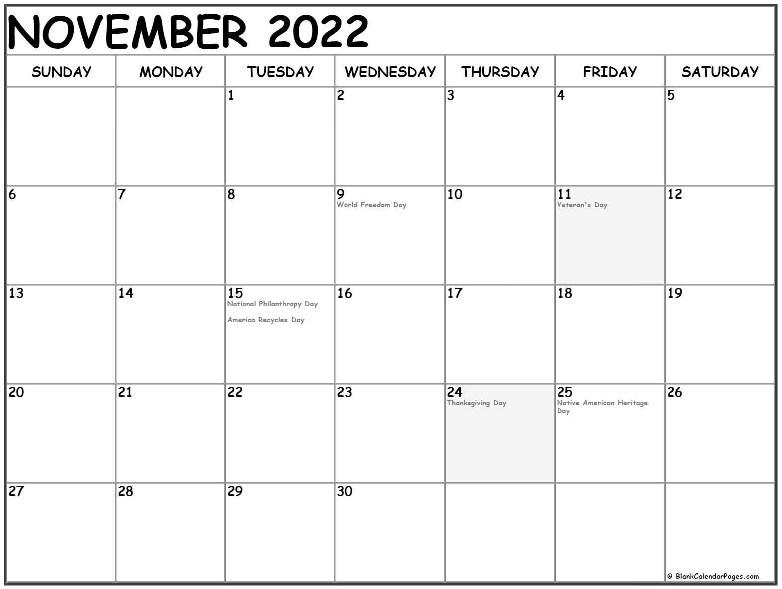 calendar 2017 November US holidays