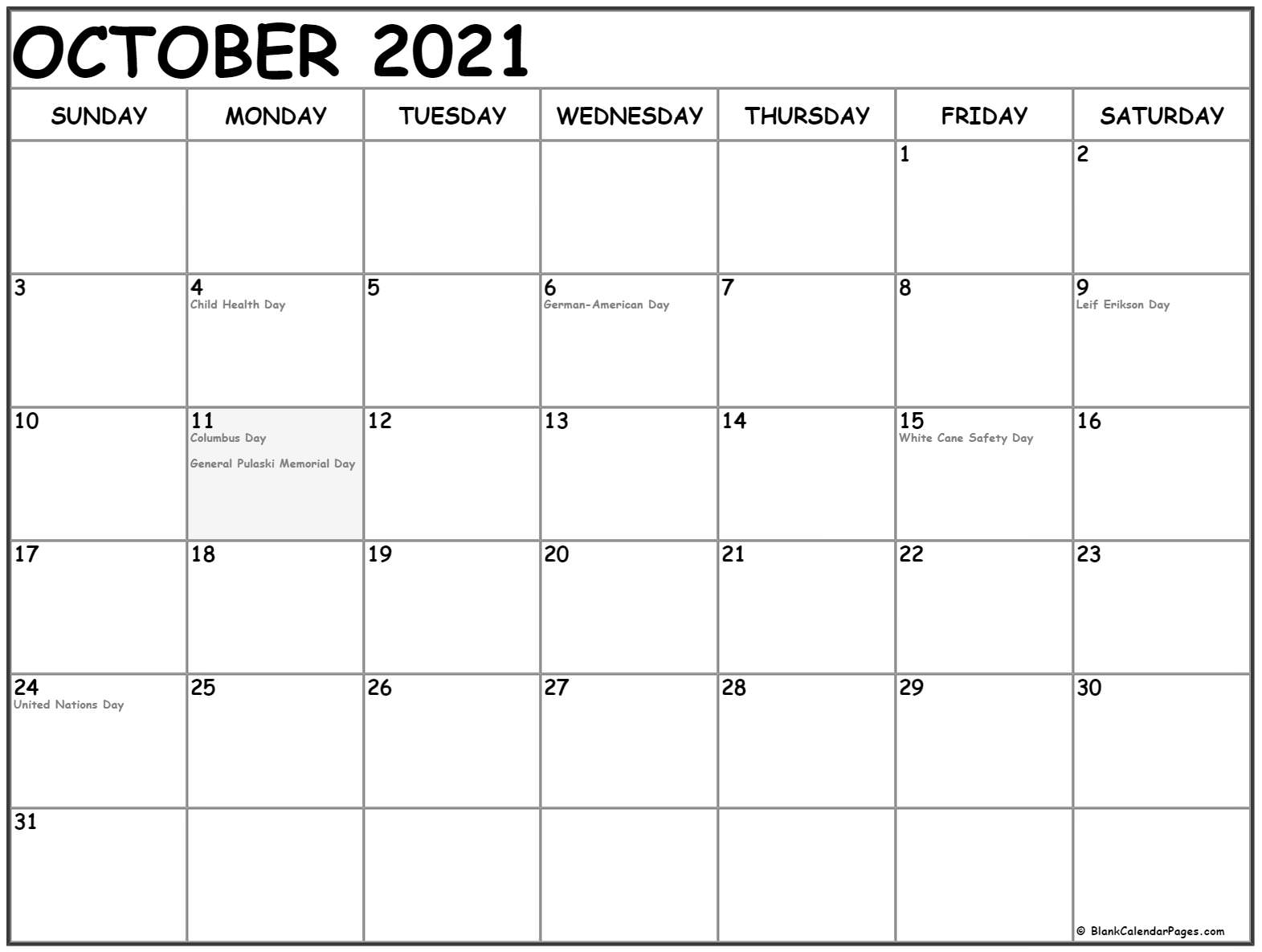 October 2019 calendar with USA holidays