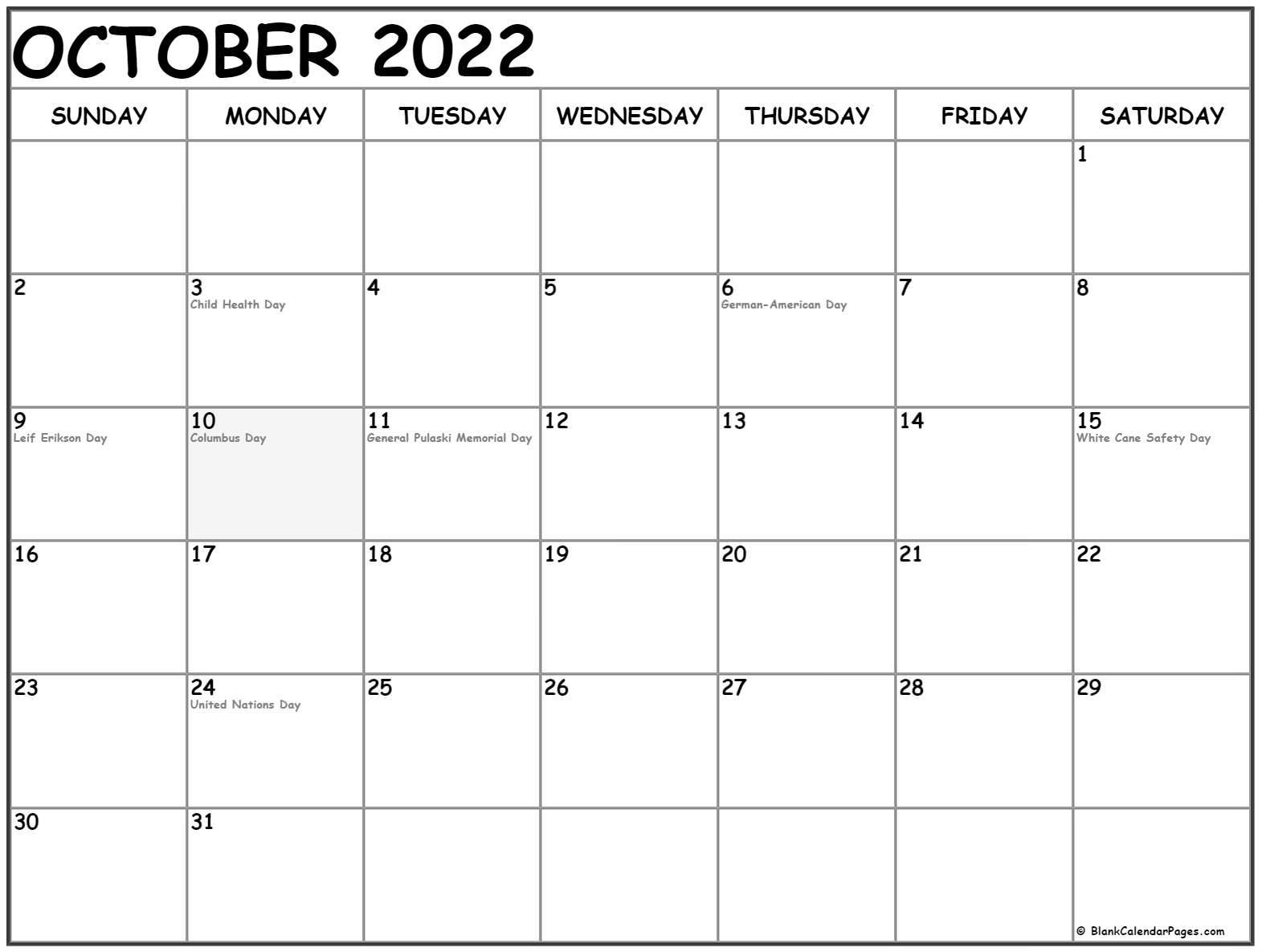 October 2022 Calendar With Holidays.October 2022 With Holidays Calendar