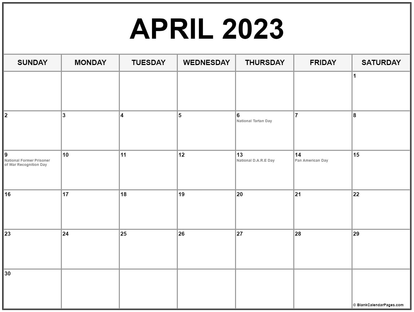 April 2023 calendar with holidays