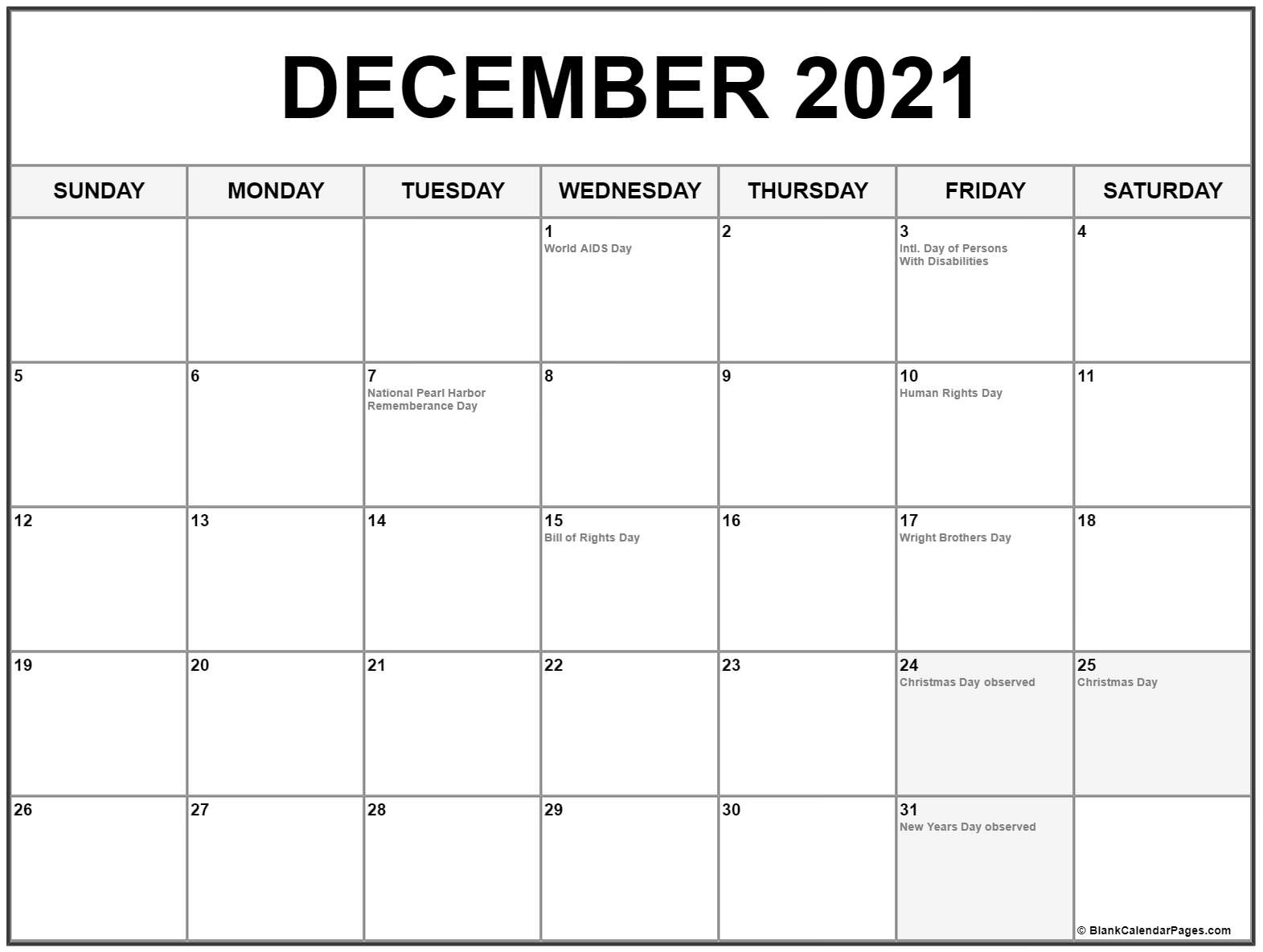 Collection Of December 2020 Calendars With Holidays