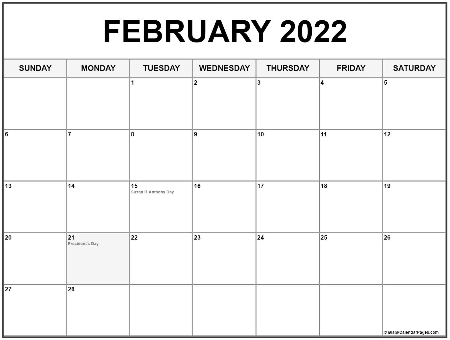 February 2022 calendar with holidays