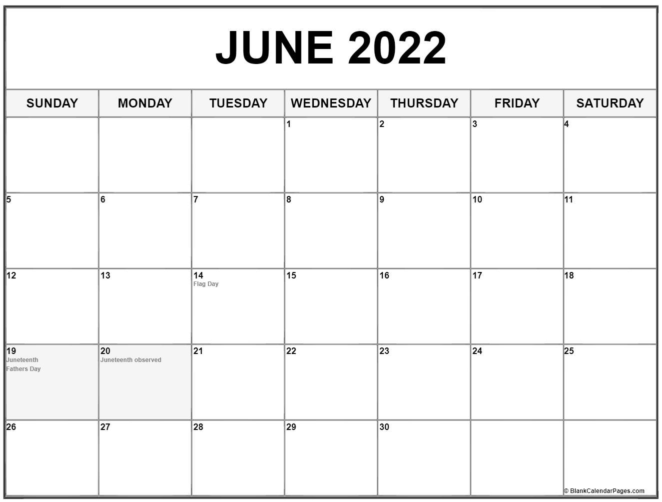 June 2022 calendar with holidays