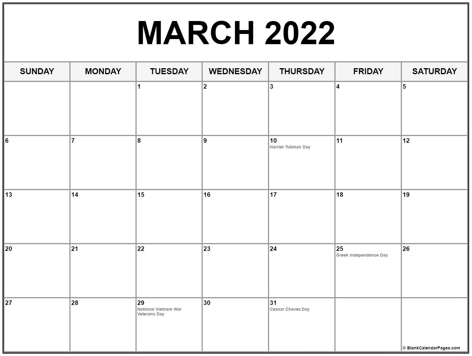 March 2022 calendar with holidays