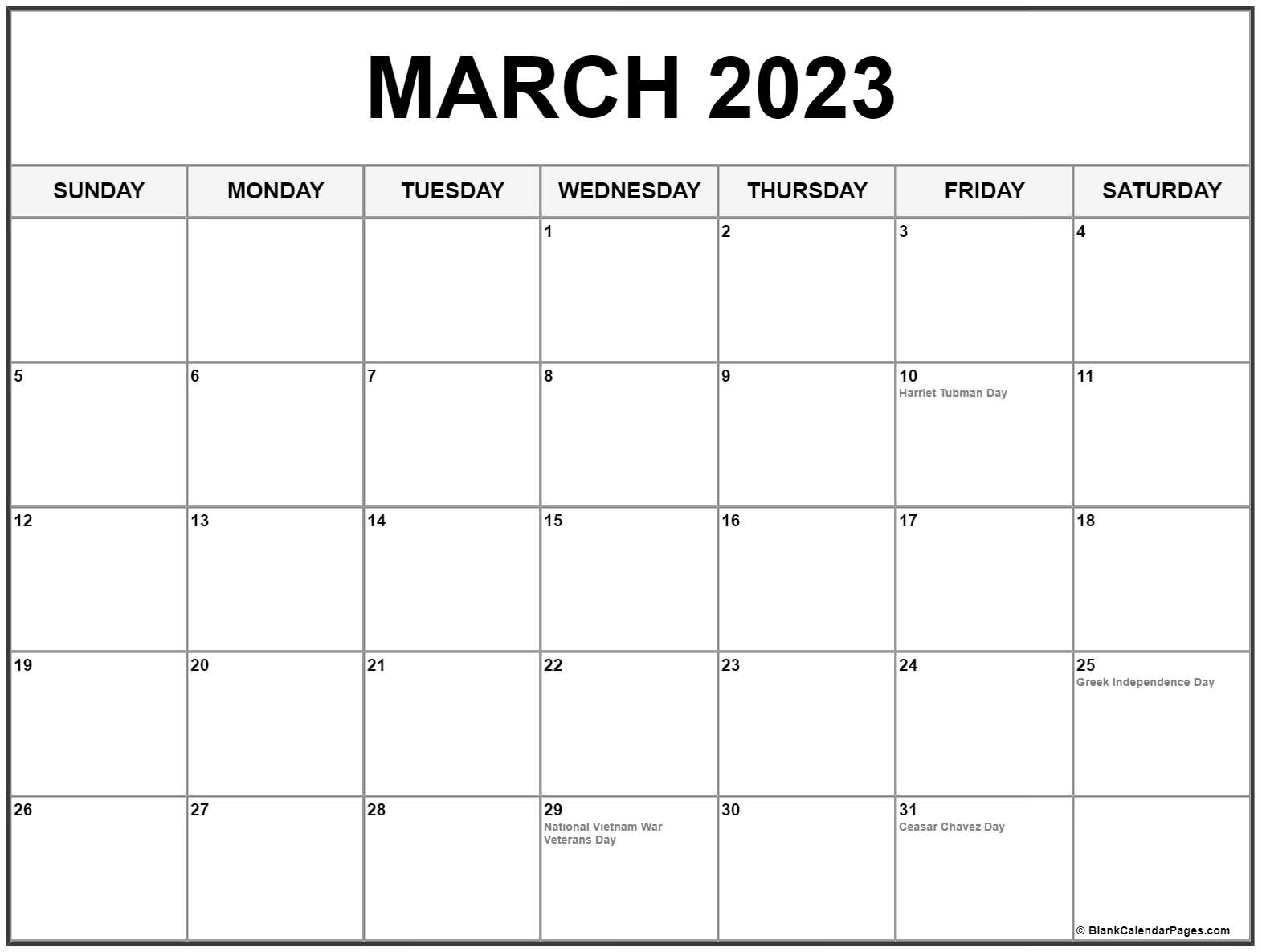 March 2023 calendar with holidays
