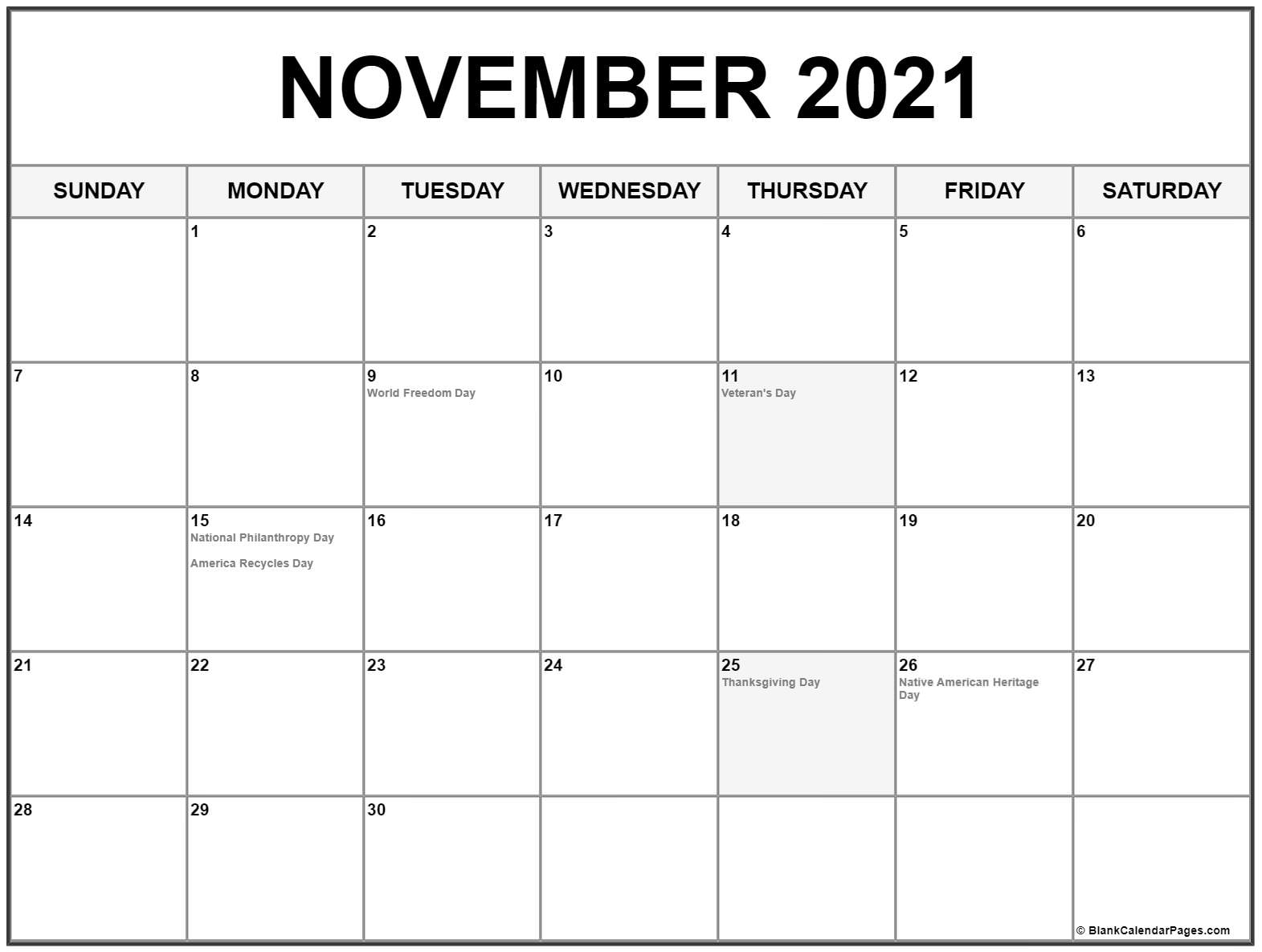 November 2018 calendar with holidays