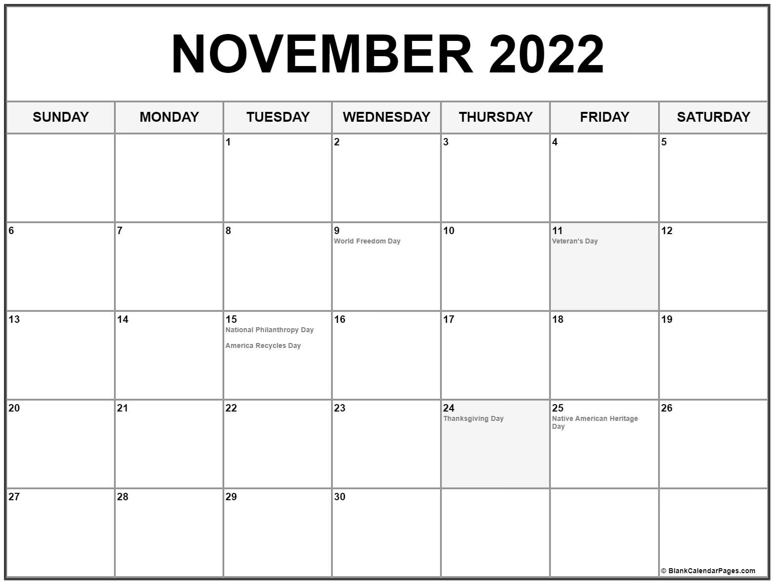 November 2022 calendar with holidays