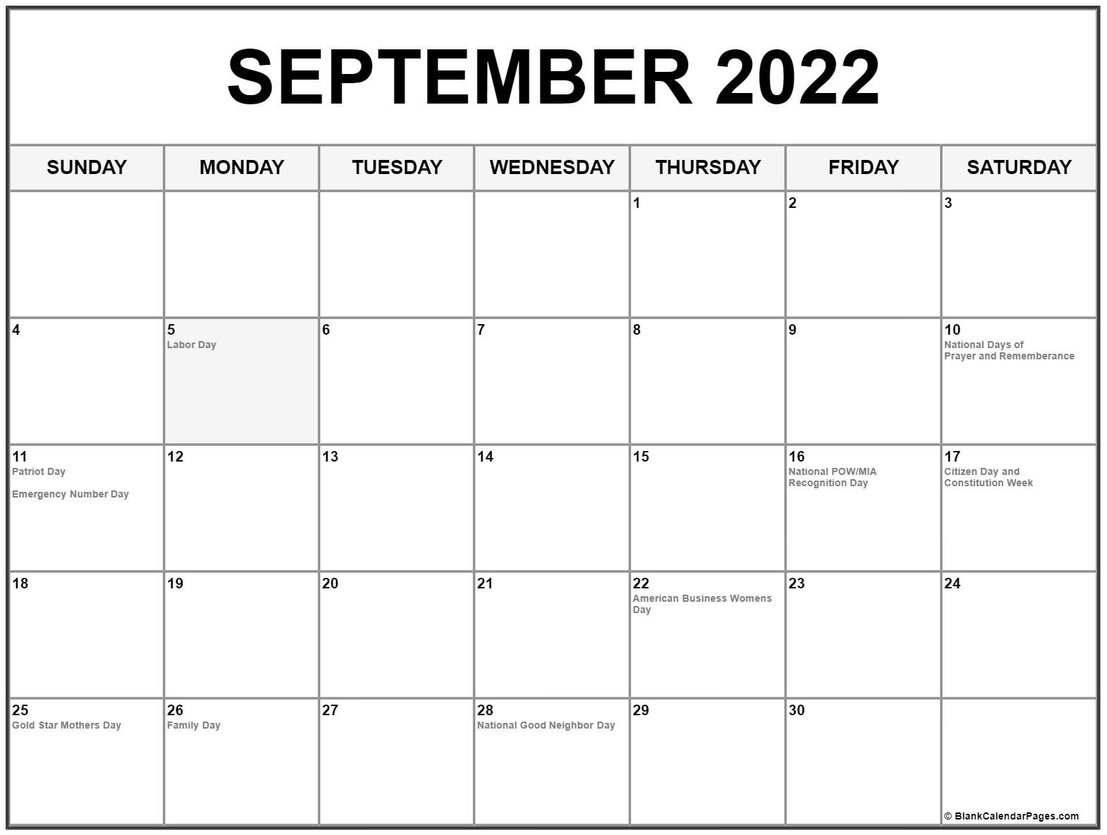 September 2022 calendar with holidays