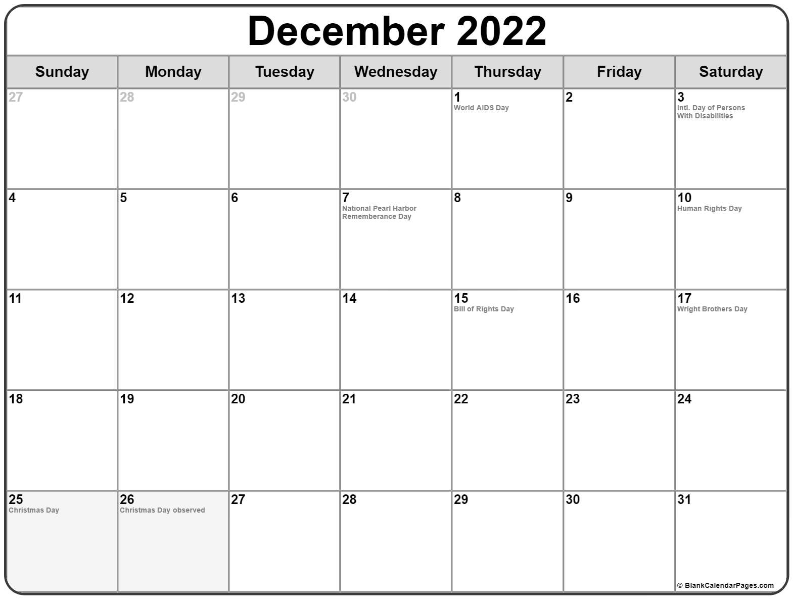 December 2018 holidays usa
