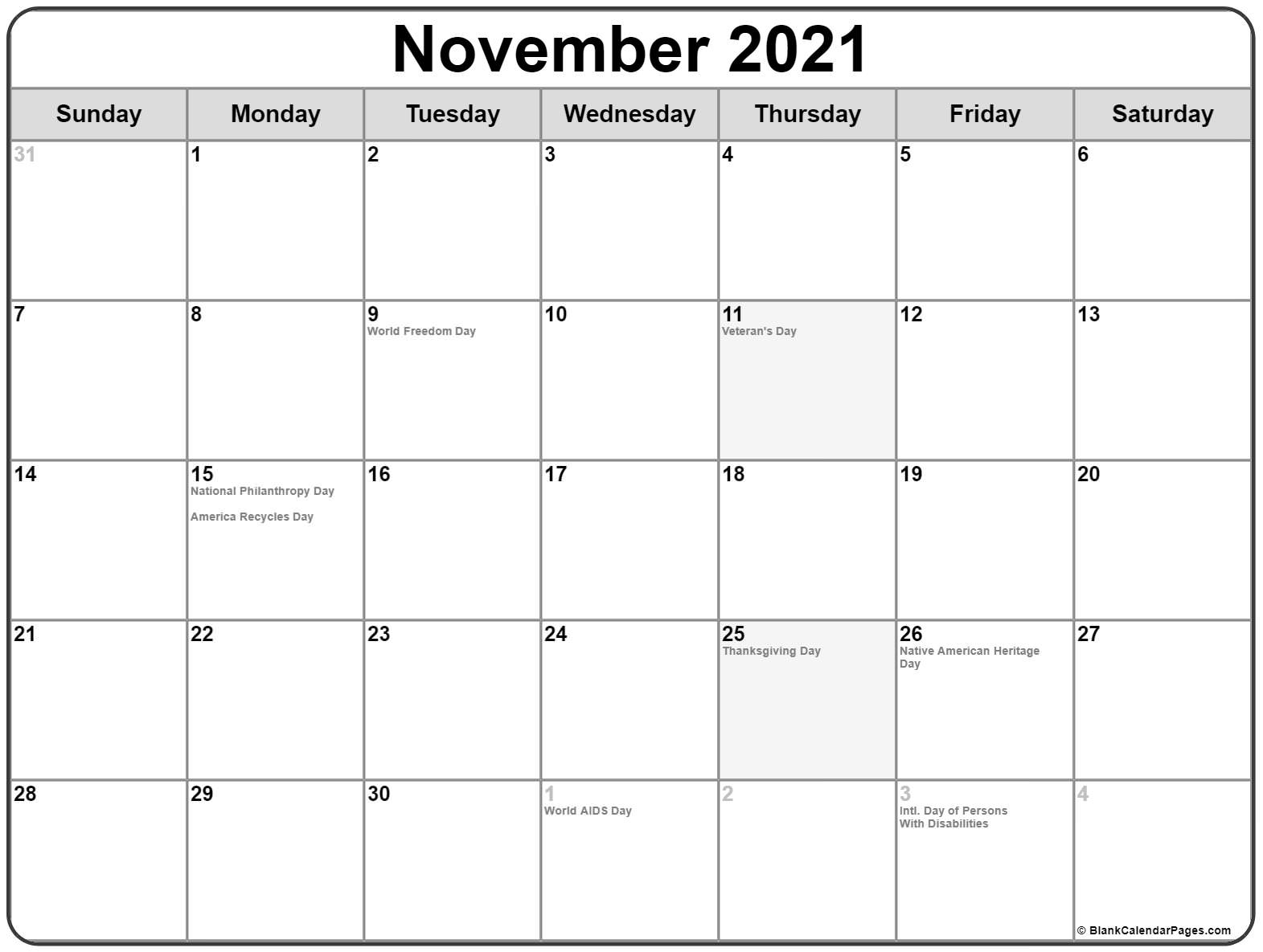 November 2021 holidays usa