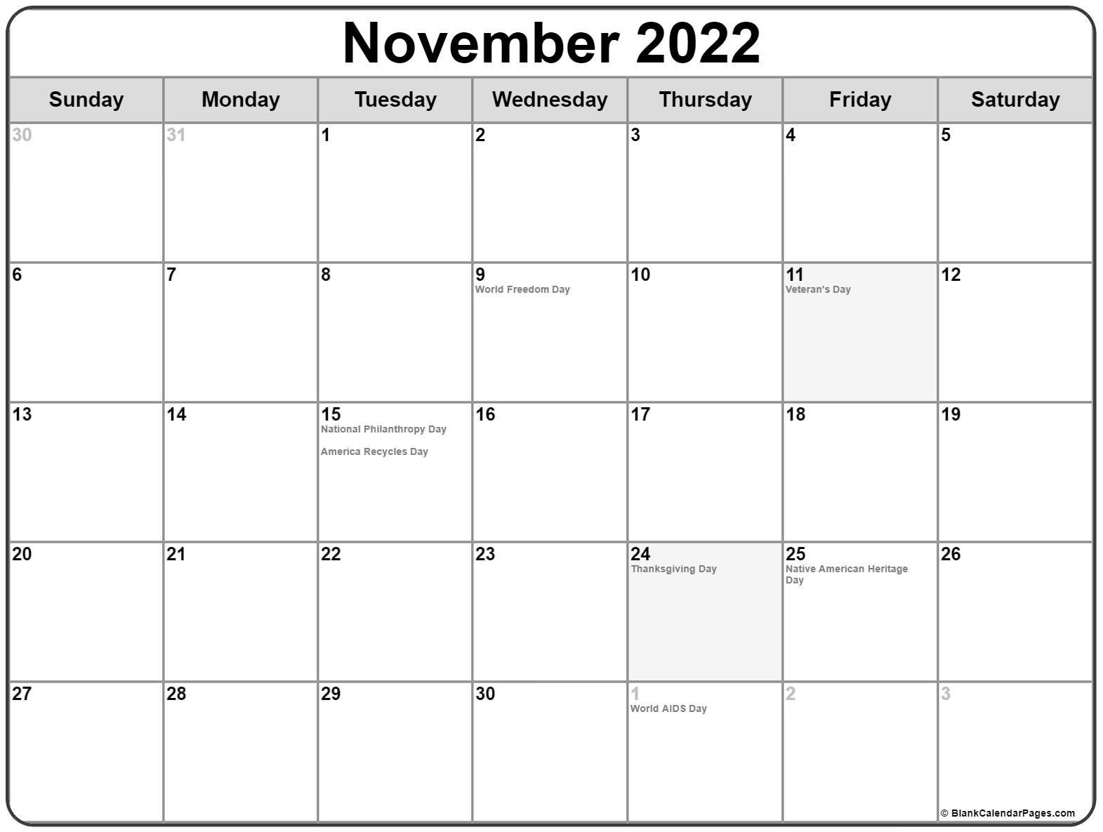 November 2020 holidays usa