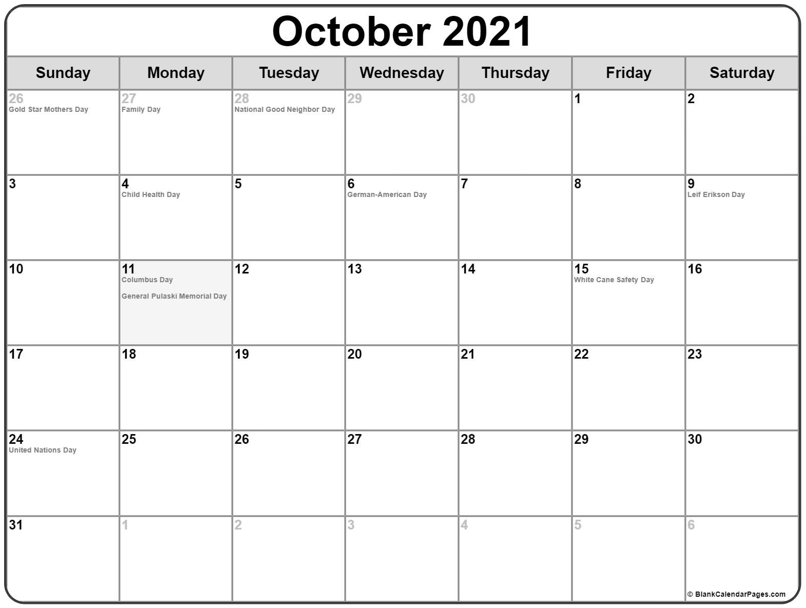 October 2018 calendar with holidays usa