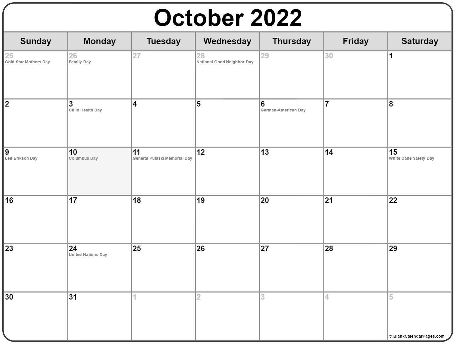 October 2020 holidays usa