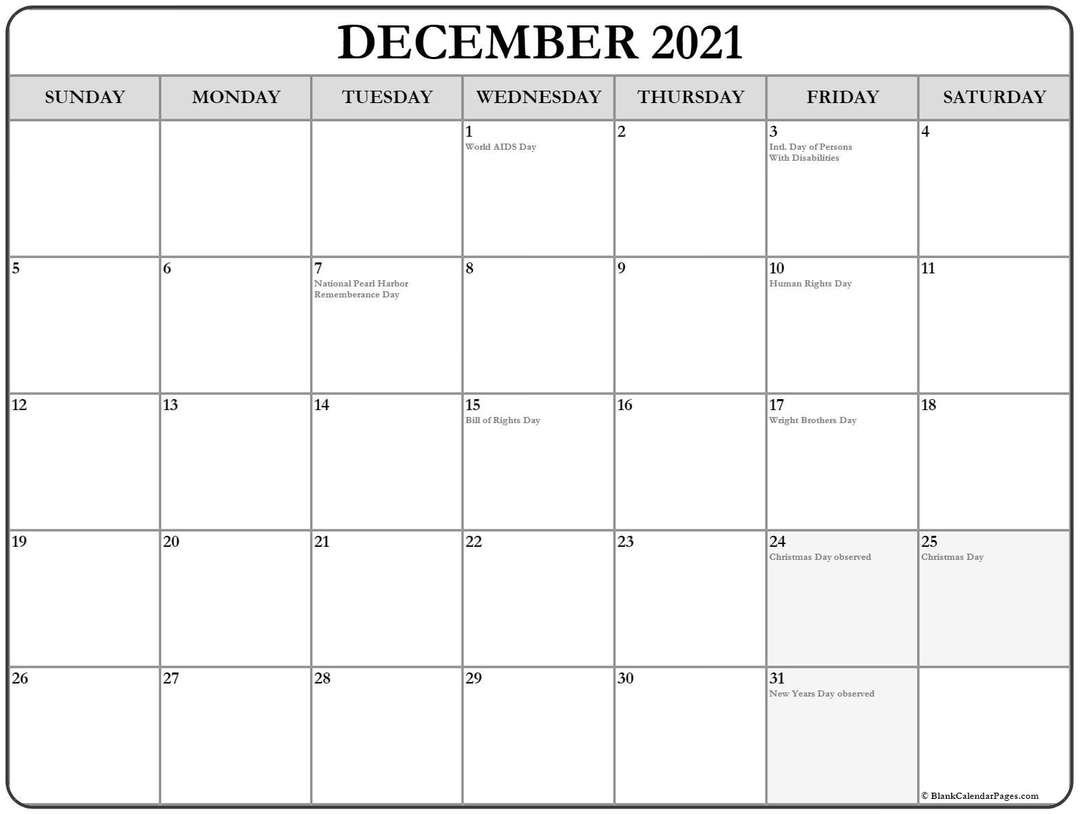 December 2021 USA holiday calendar. Incluides US federal holidays and observations