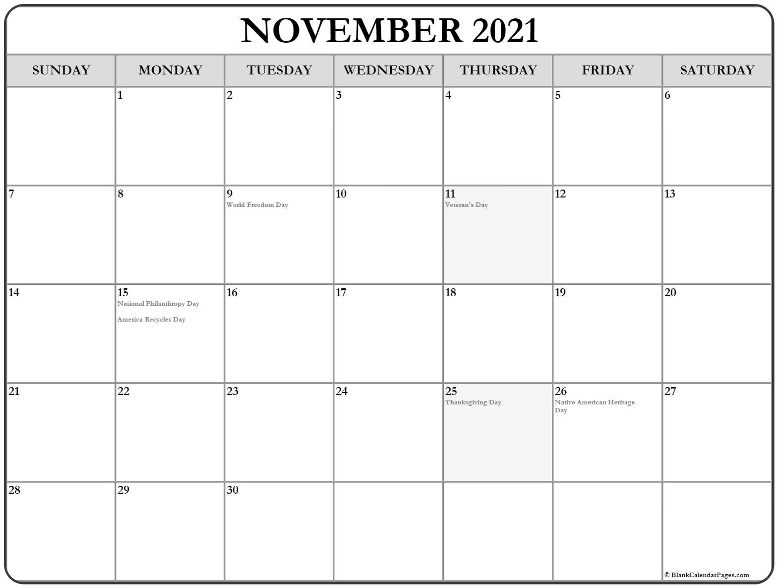 November 2021 USA holiday calendar. Incluides US federal holidays and observations