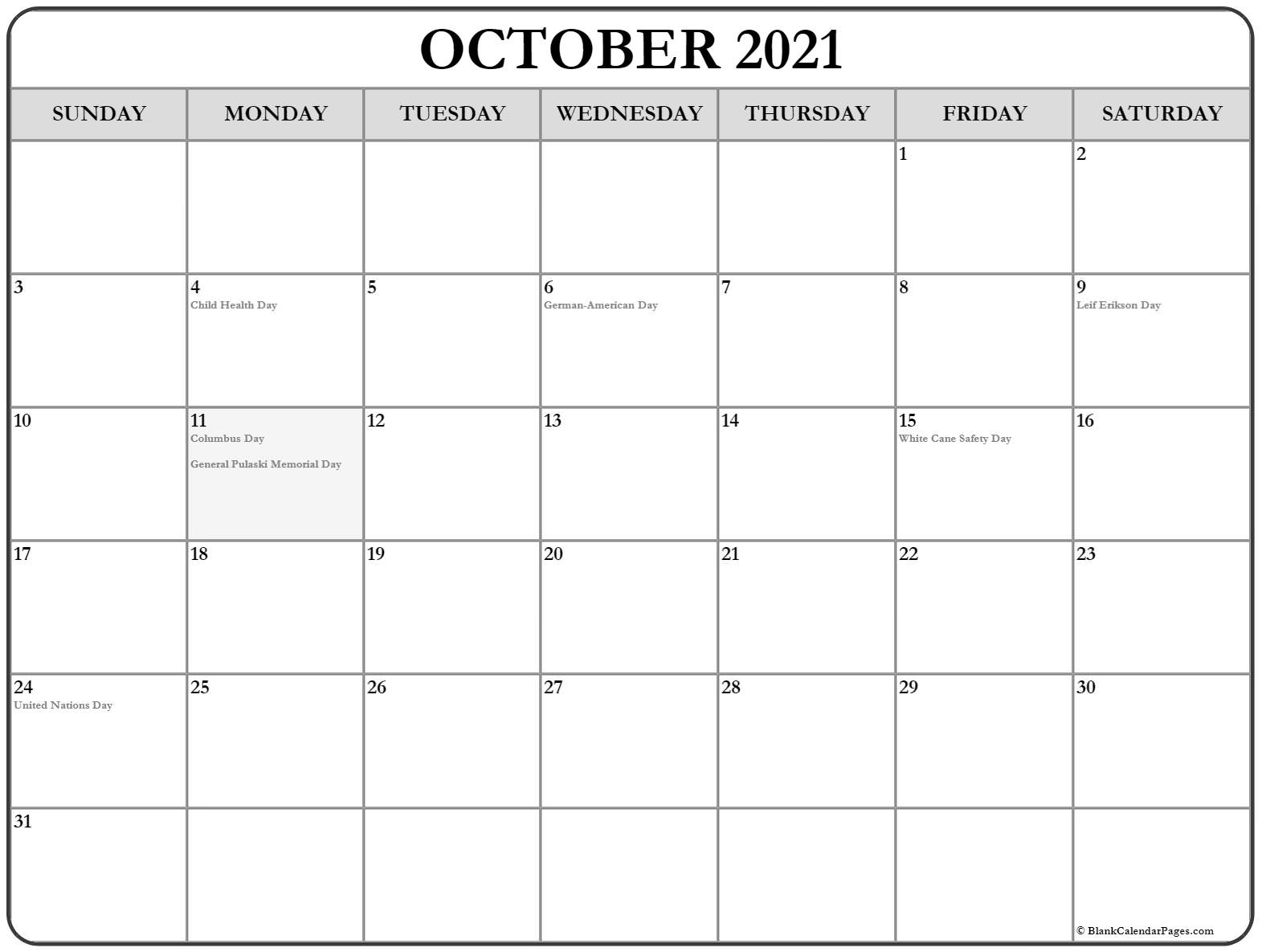 October 2021 USA holiday calendar. Incluides US federal holidays and observations
