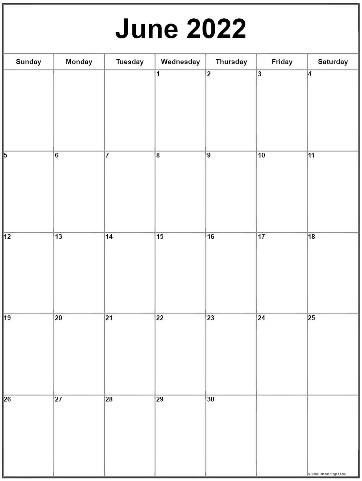 June 2022 Monday calendar. Monday to Sunday