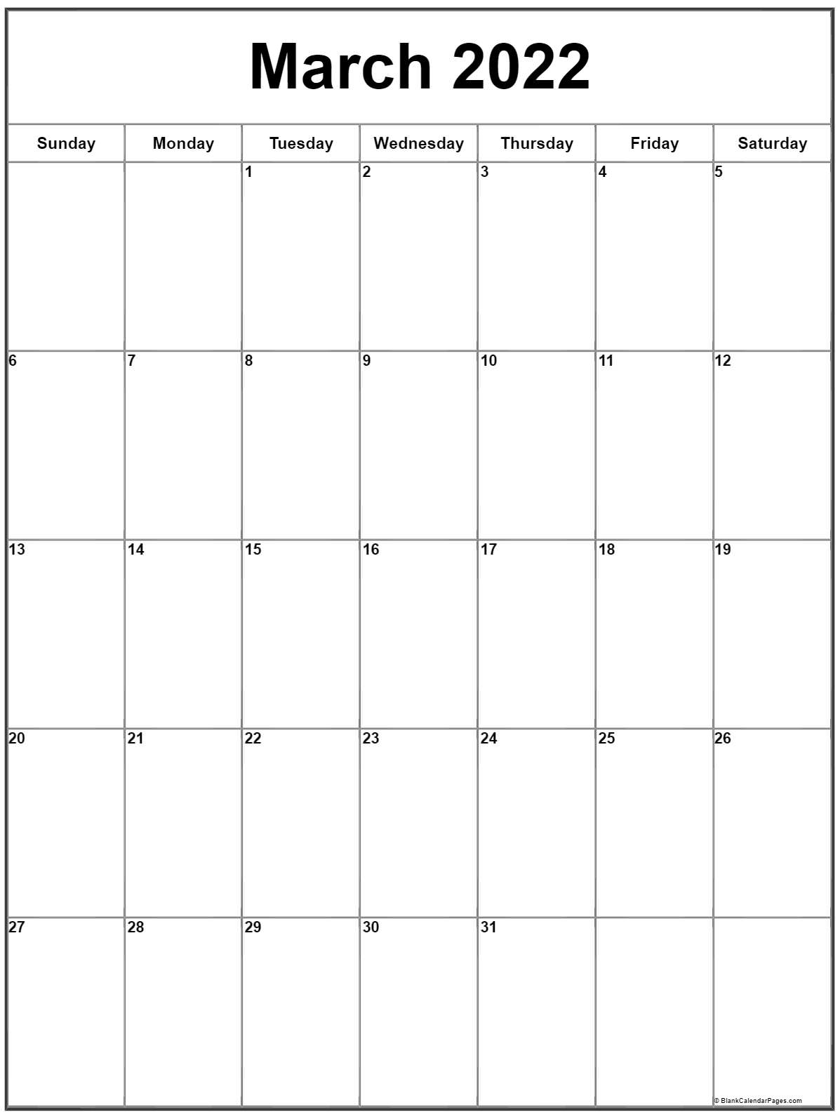 March 2022 Monday calendar. Monday to Sunday