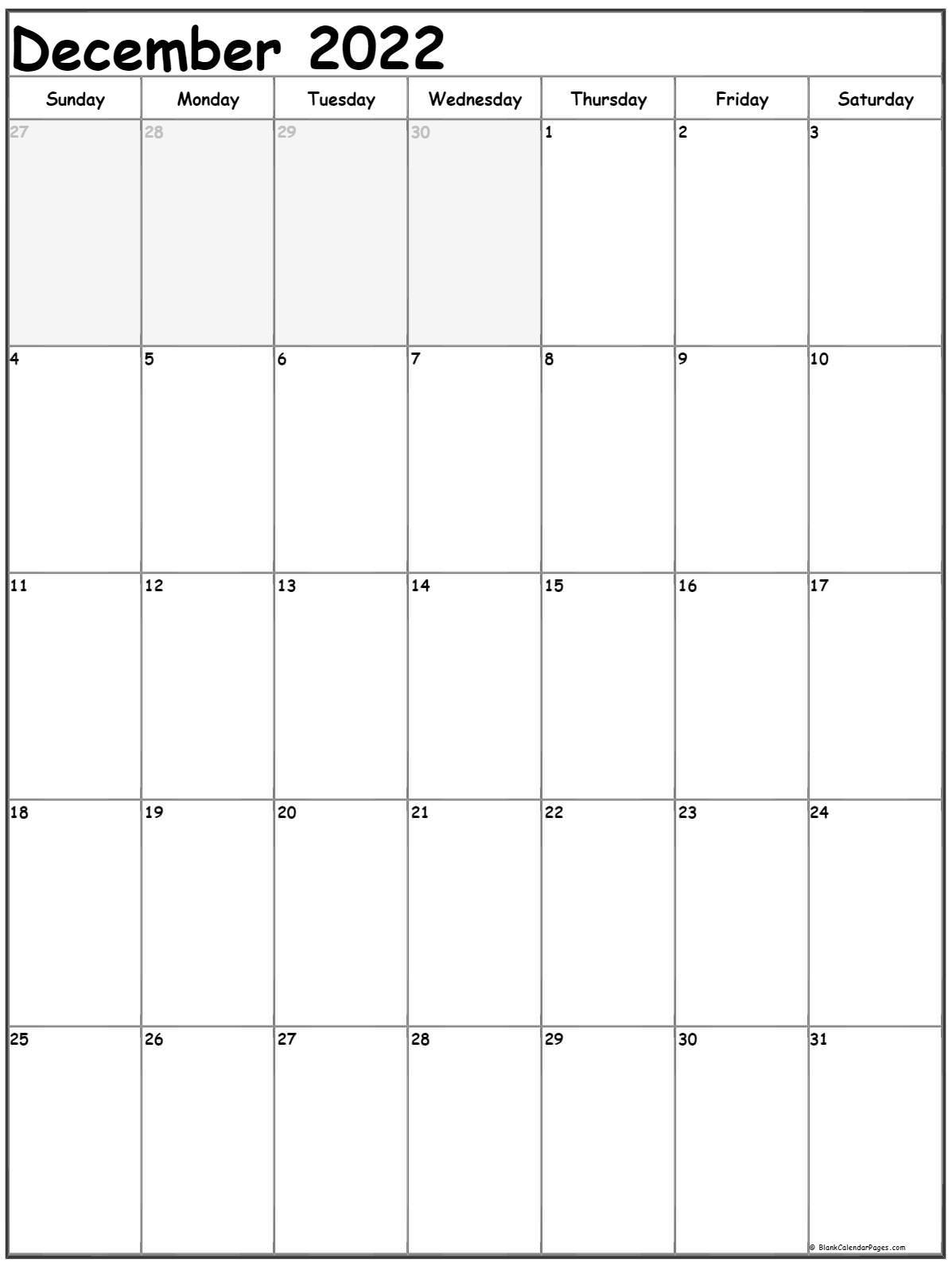 December 2022 Vertical Calendar | Portrait