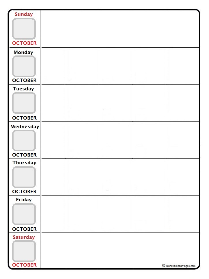 October weekly calendar printable