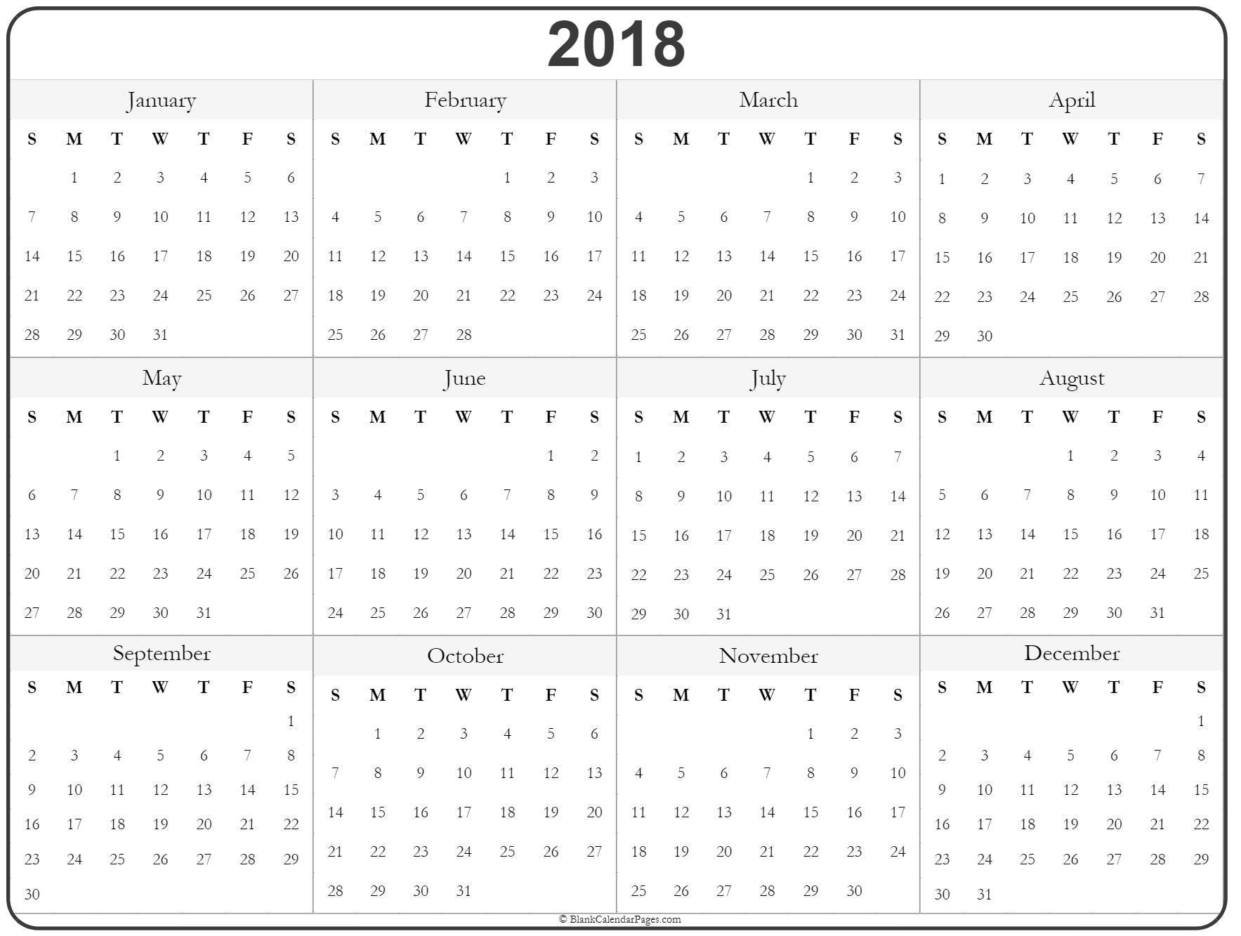 2018 year calendar printable