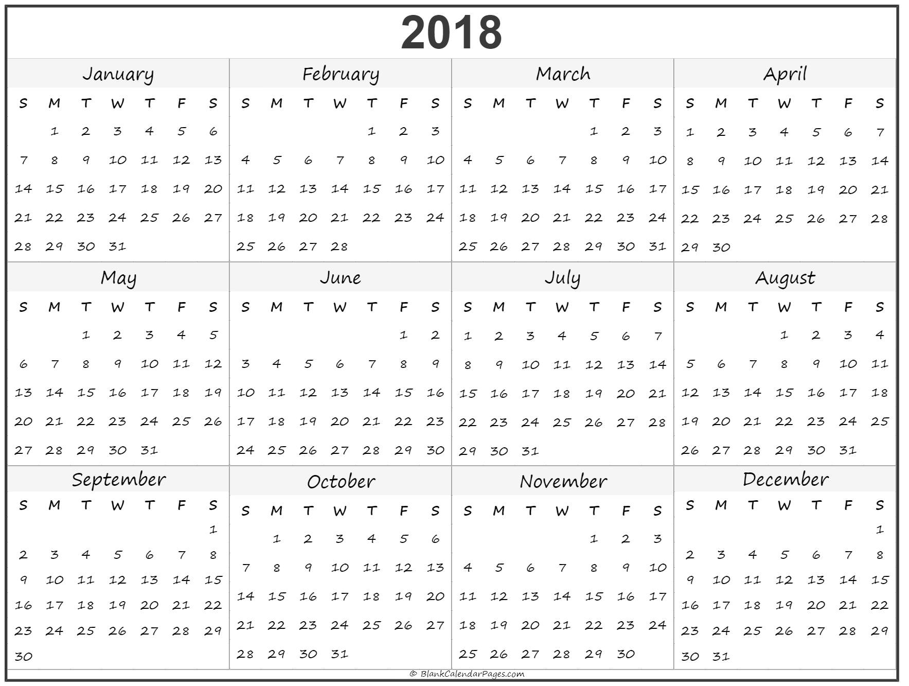 Yearly calendar 2018