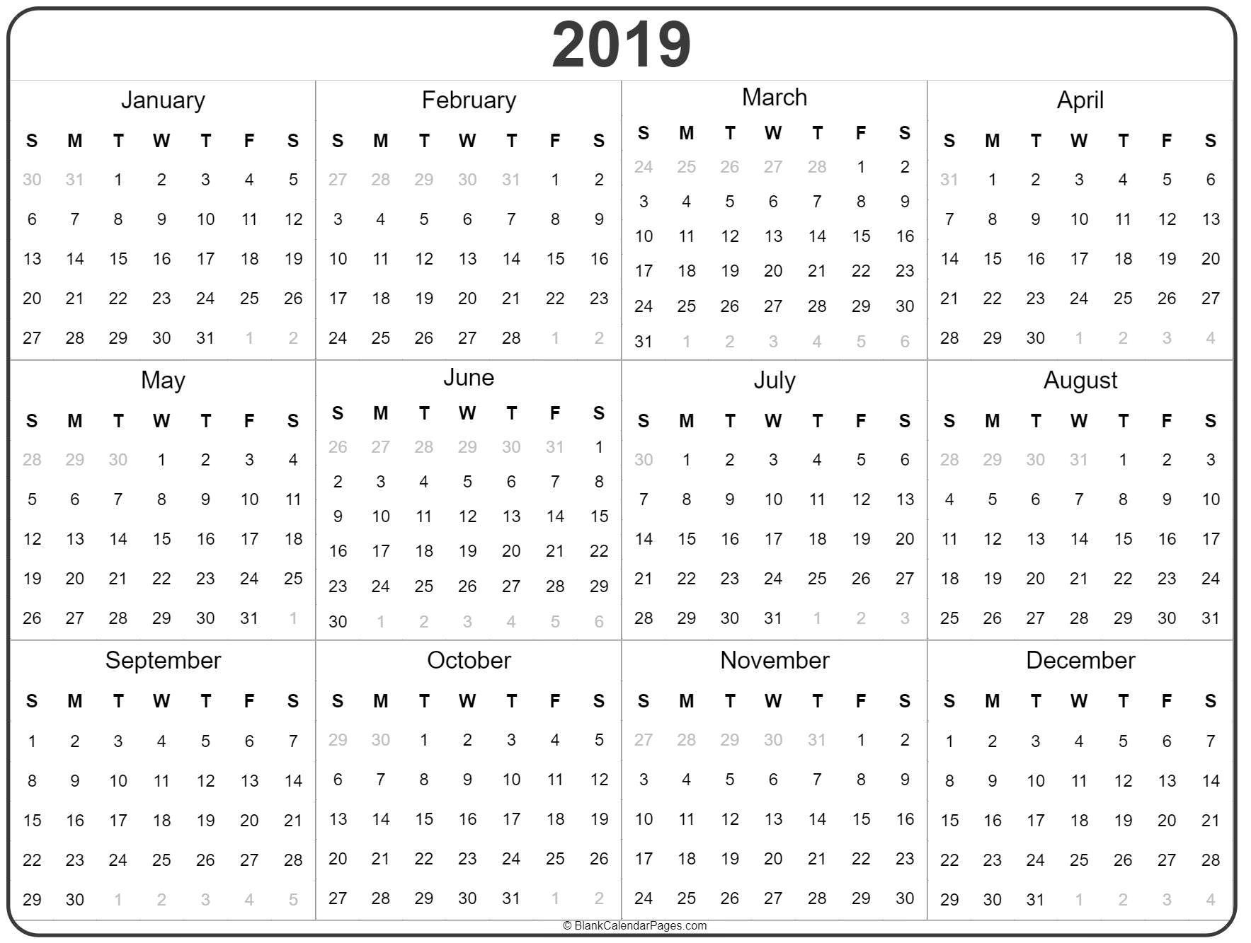 Calendar 2019 Year 2019 year calendar | yearly printable