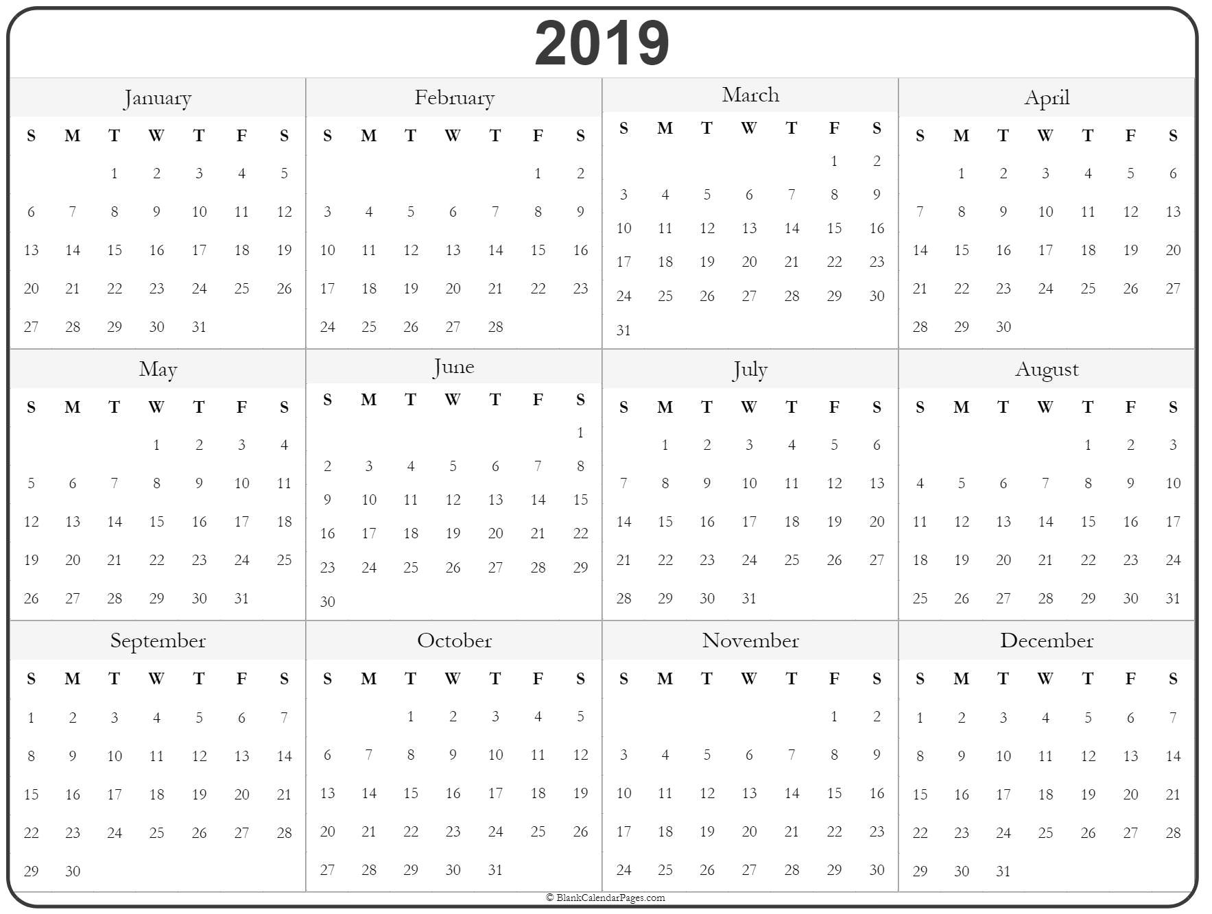 photograph relating to Printable Year Calendar referred to as 2019 calendar year calendar on a yearly basis printable
