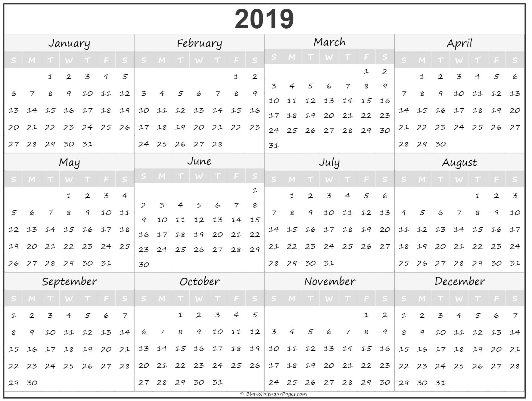 2019 yearly printable