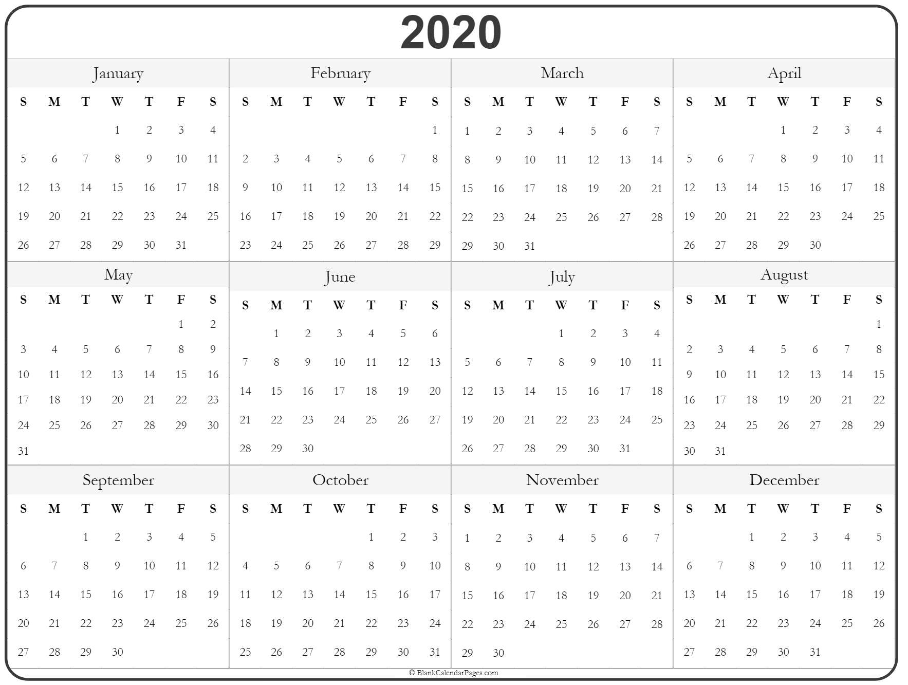 Printable Calendar 2020 Year 2020 year calendar | yearly printable