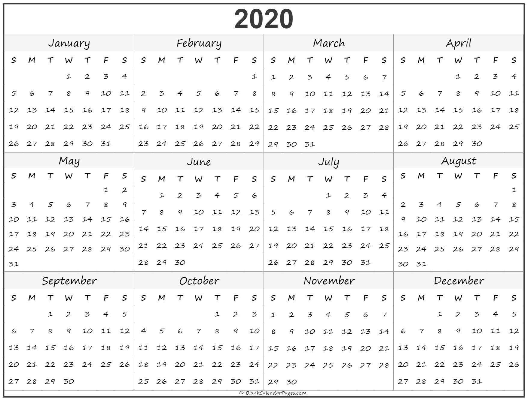 Yearly Calendars 2020 2020 year calendar | yearly printable