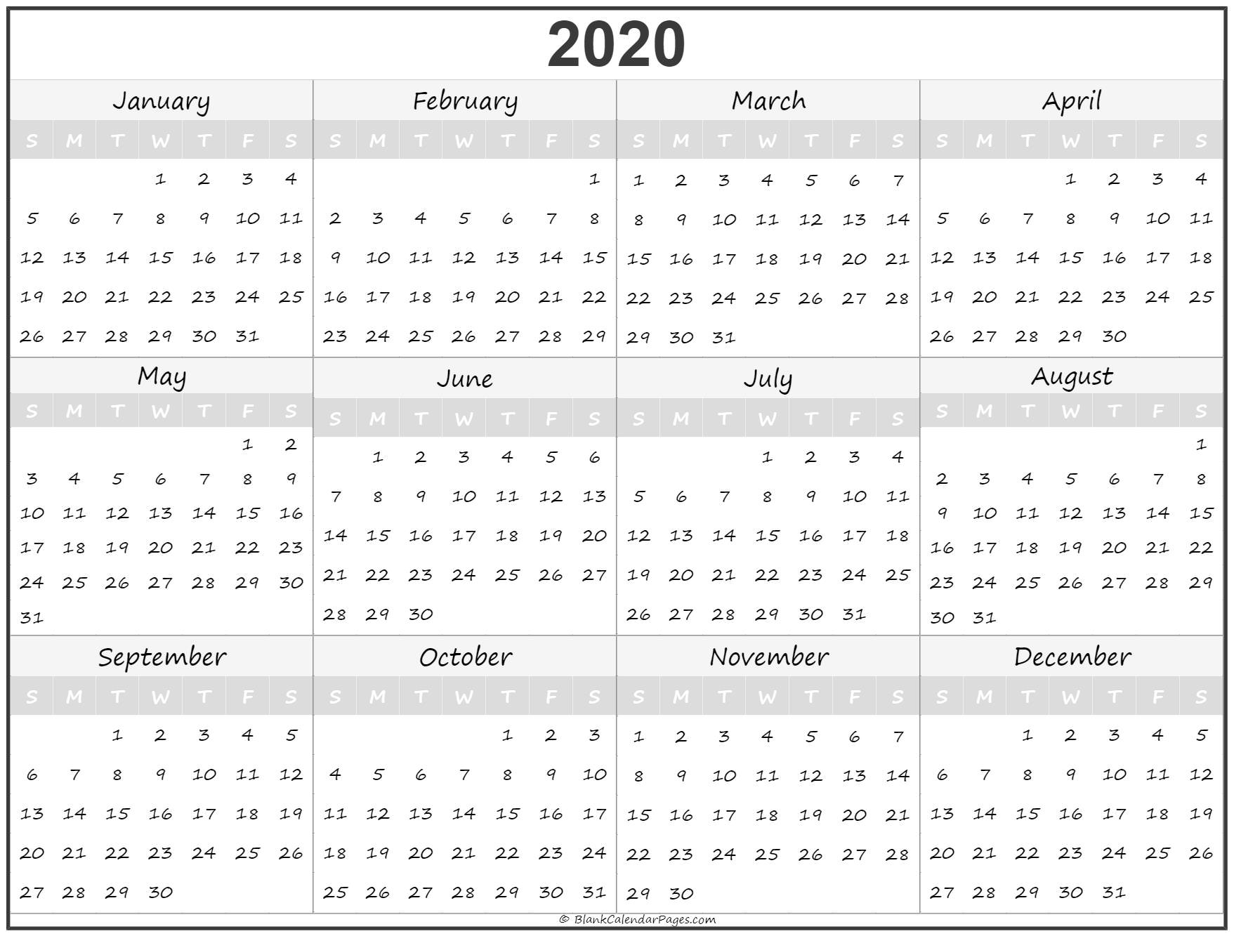 1 Year Calendar 2020 2020 year calendar | yearly printable