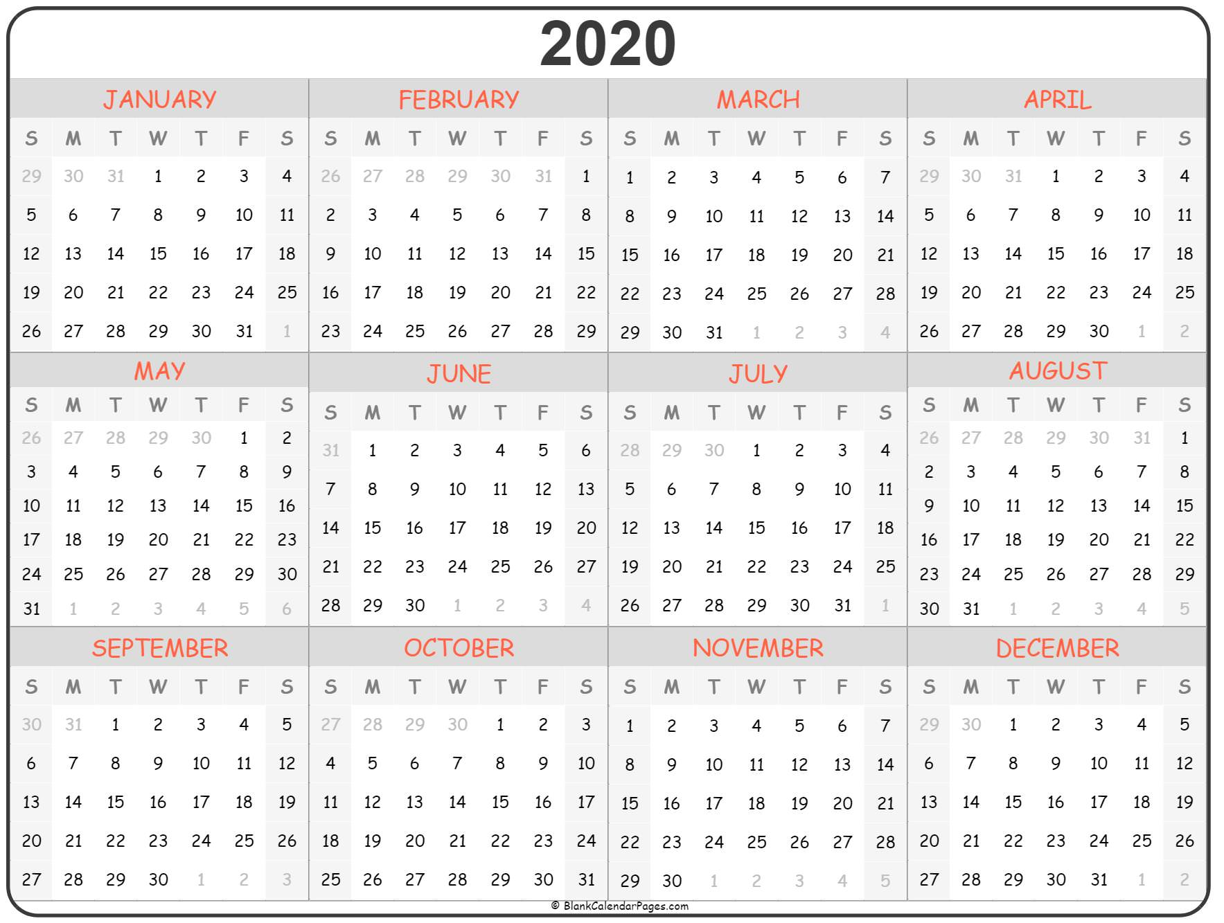 It's just a picture of Bright Free Printable Calendars for 2020