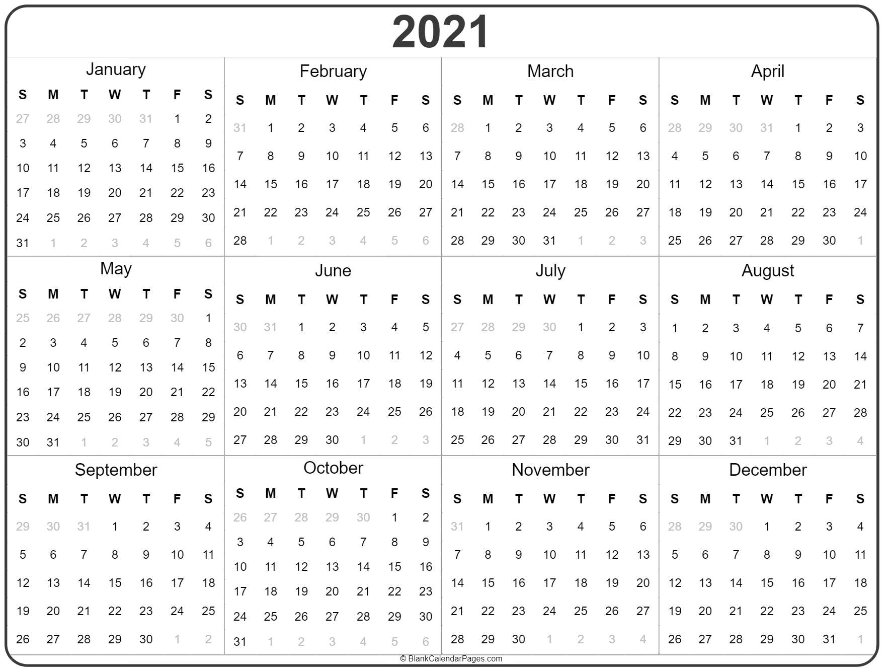 Yearly Printable Calendar 2021 2021 year calendar | yearly printable