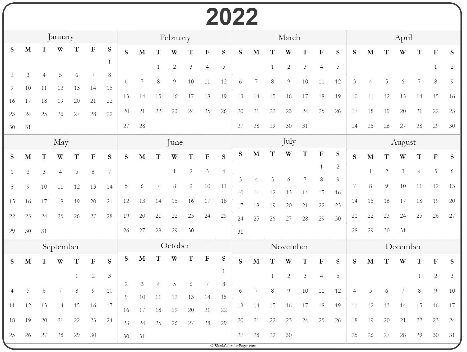 photo regarding 2022 Calendar Printable identified as 2022 yr calendar annually printable