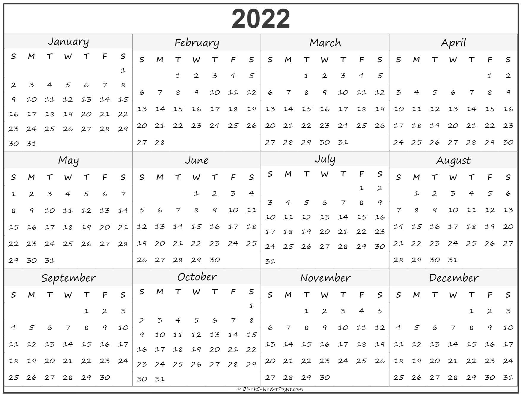 photo relating to 2022 Calendar Printable titled 2022 calendar year calendar every year printable