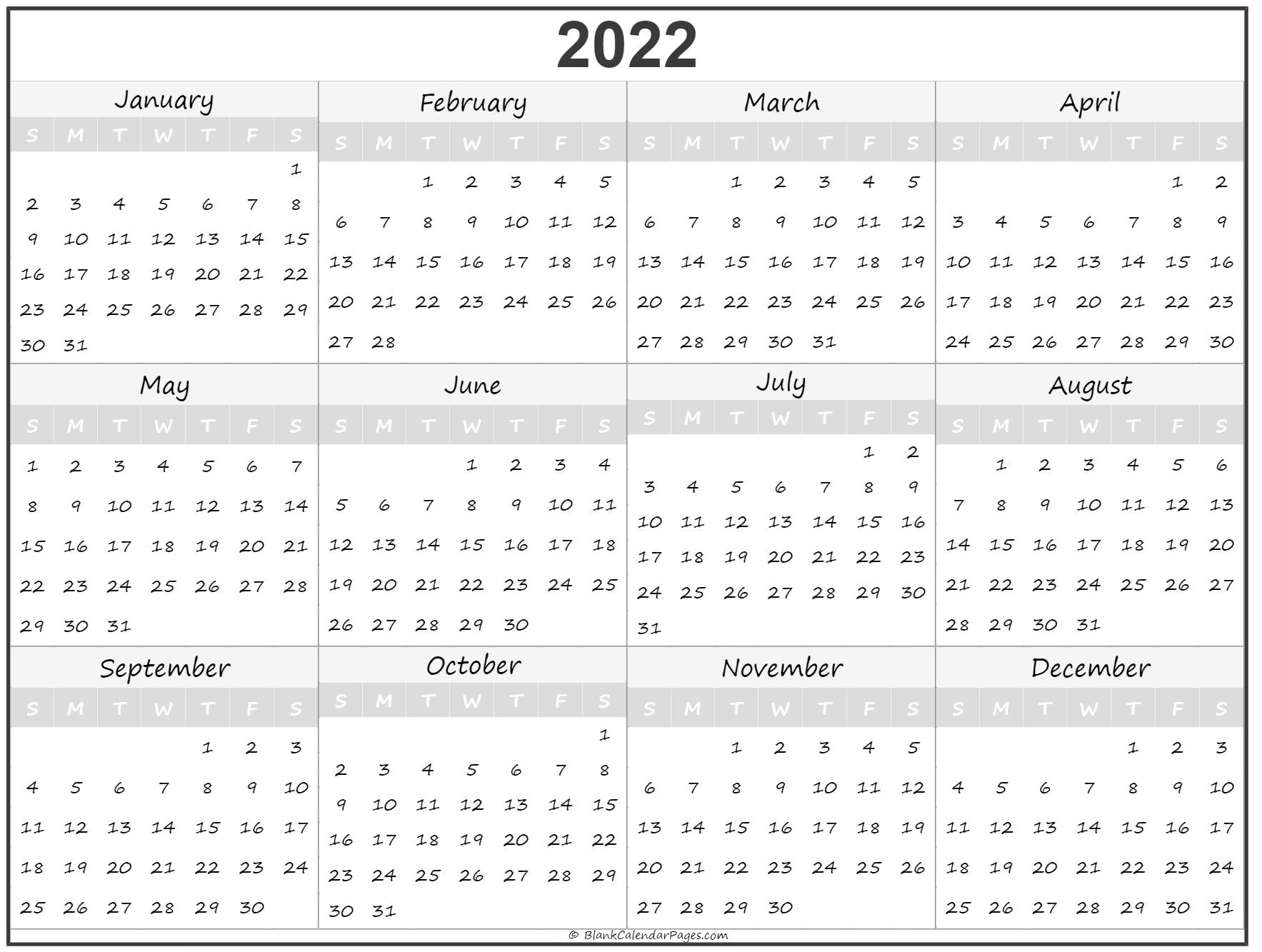 2022 yearly printable