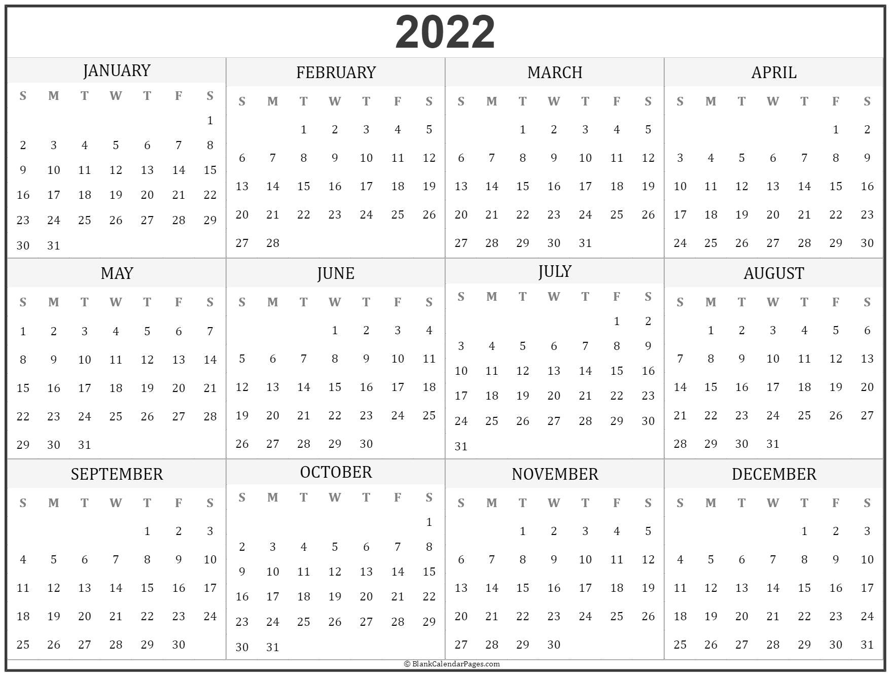 2022 year calendar | yearly printable calendar