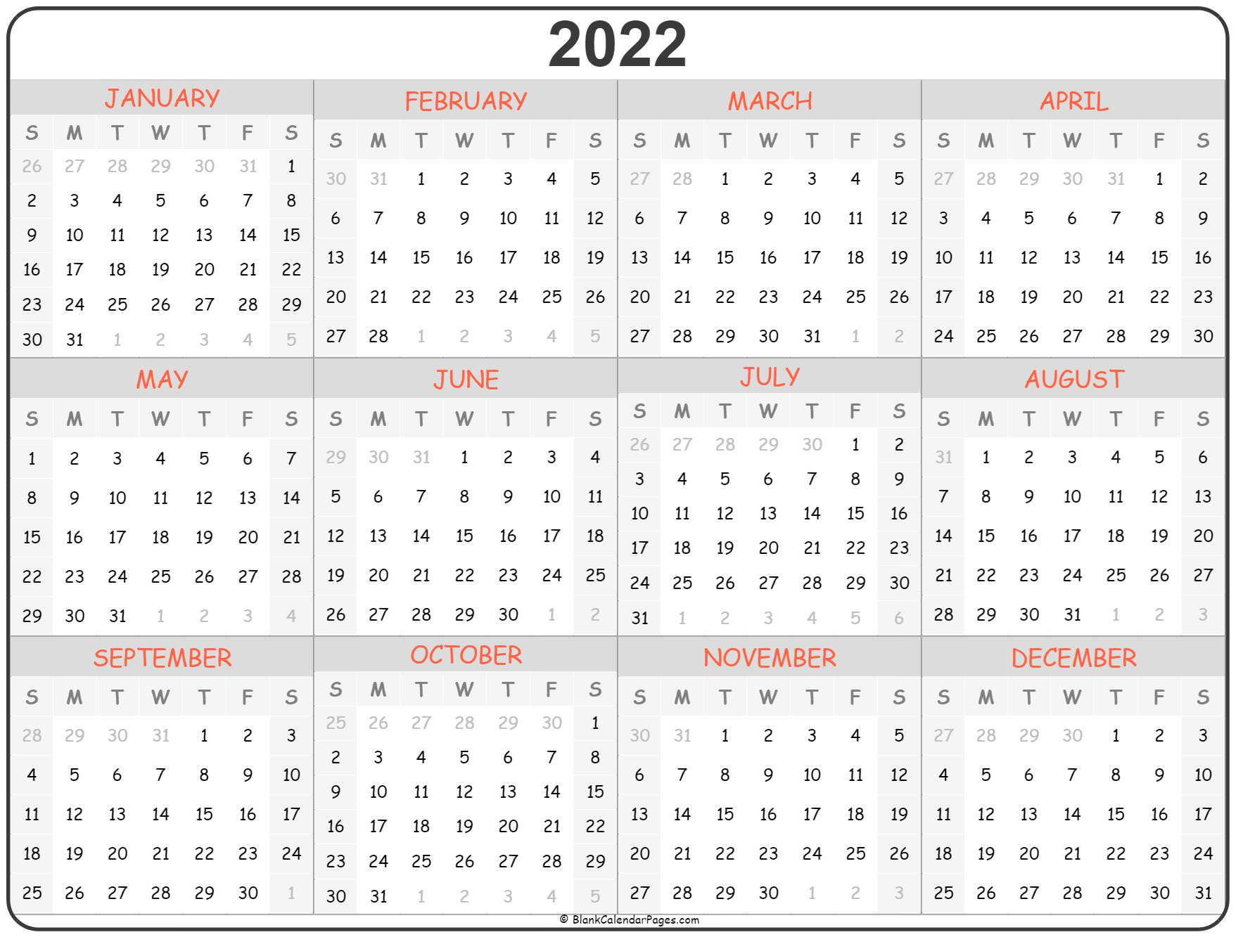 2022 year ready to print