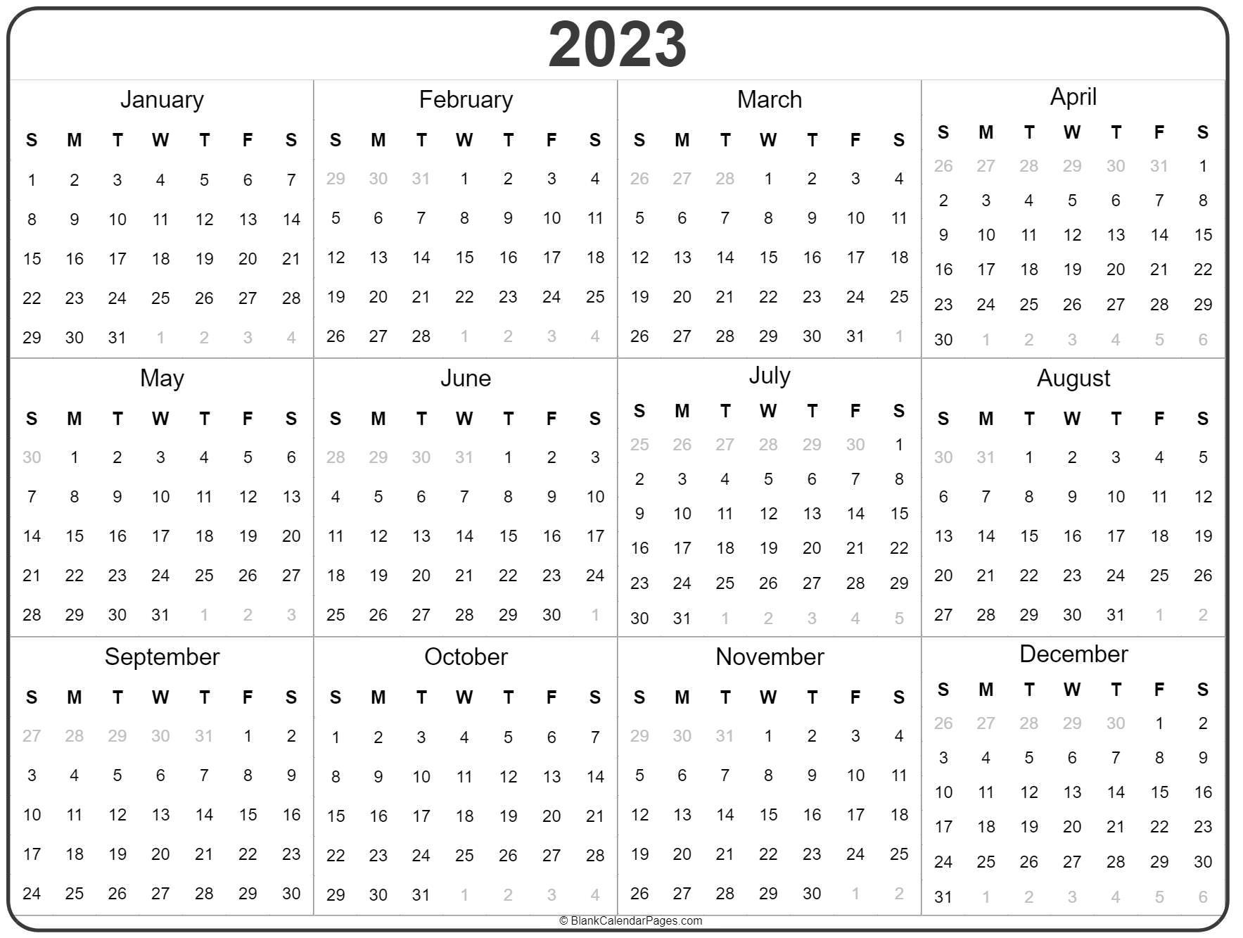 2023 year calendar template