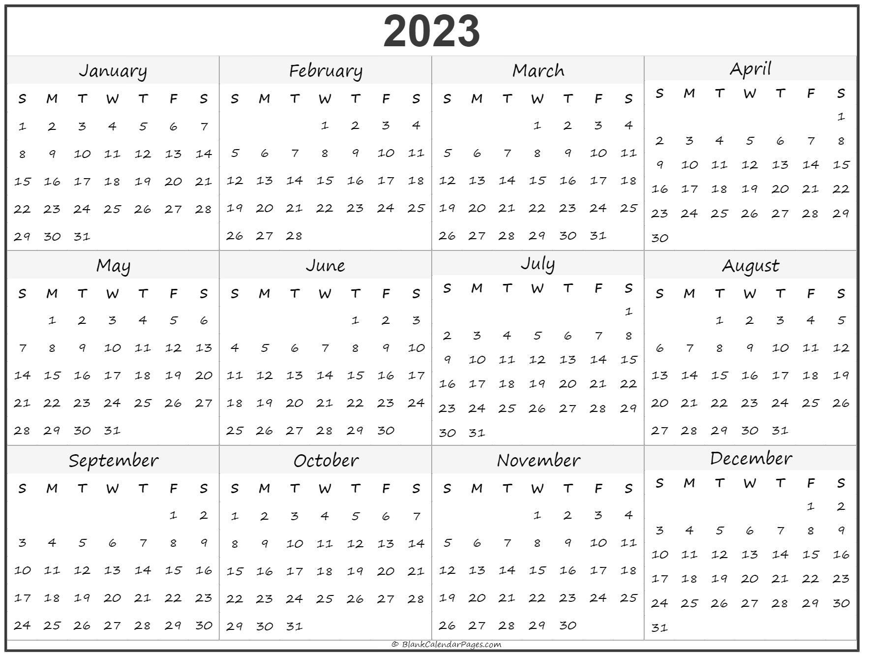 Yearly calendar 2023