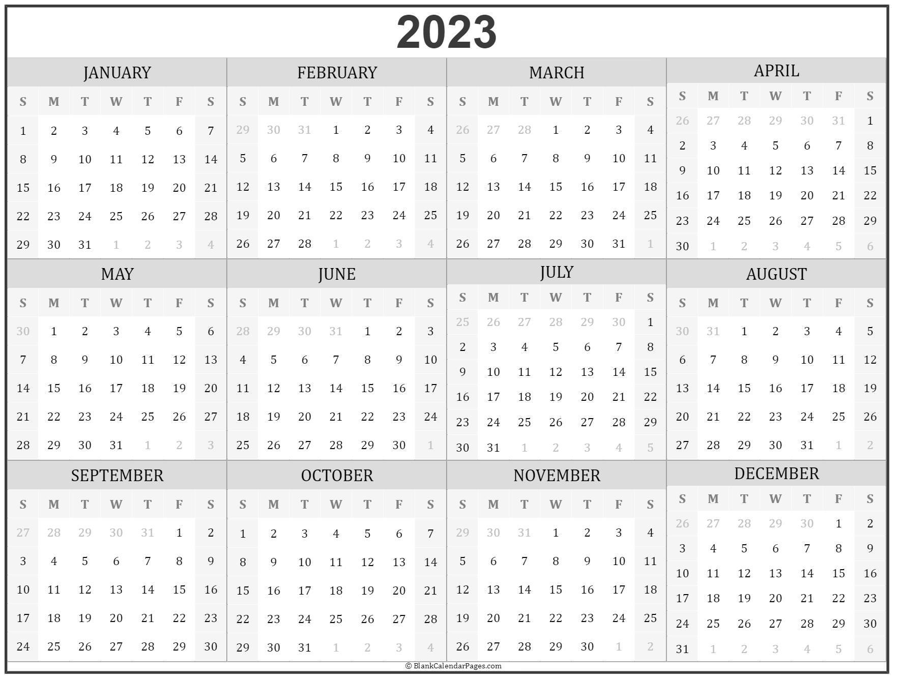 2023 year calendar